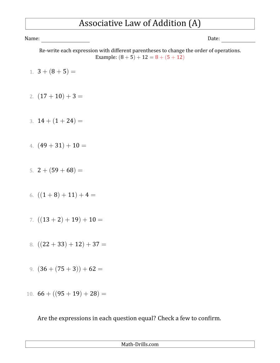 Properties Of Numbers Worksheet associative Law Of Addition whole Numbers Ly A