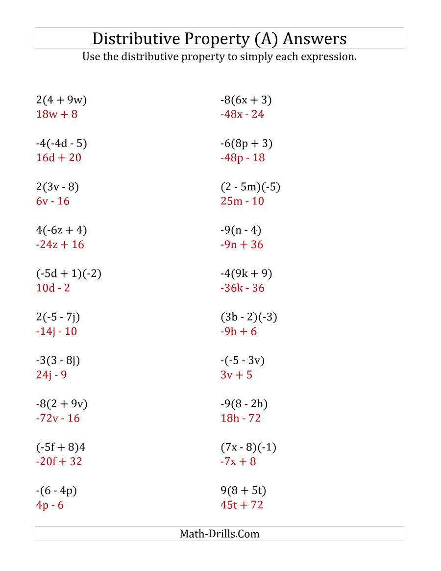 Properties Of Numbers Worksheet the Using the Distributive Property Answers Do Not Include