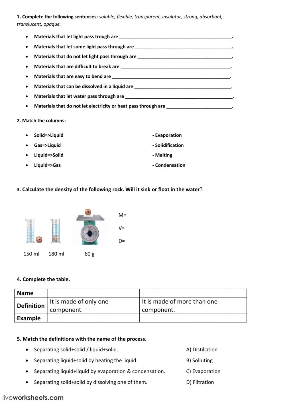 Properties Of Water Worksheet Matter and Materials Interactive Worksheet