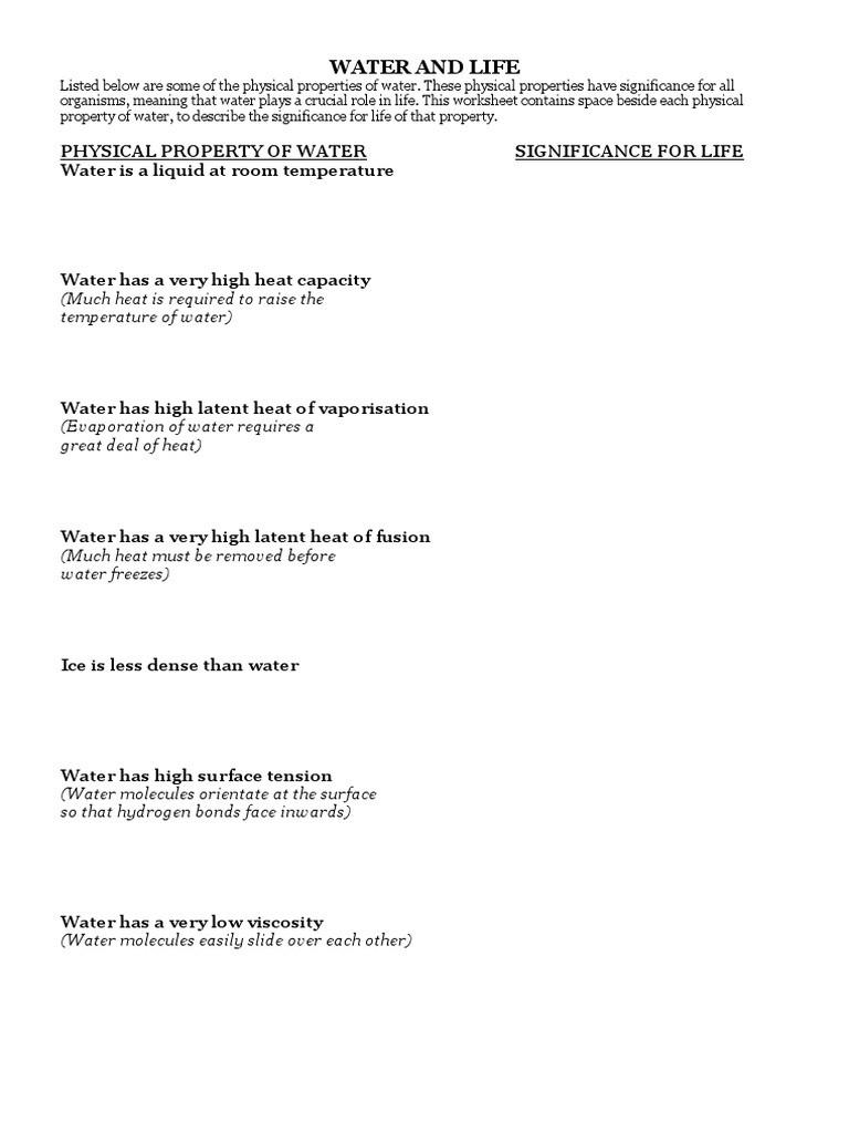 Properties Of Water Worksheet Water Worksheet