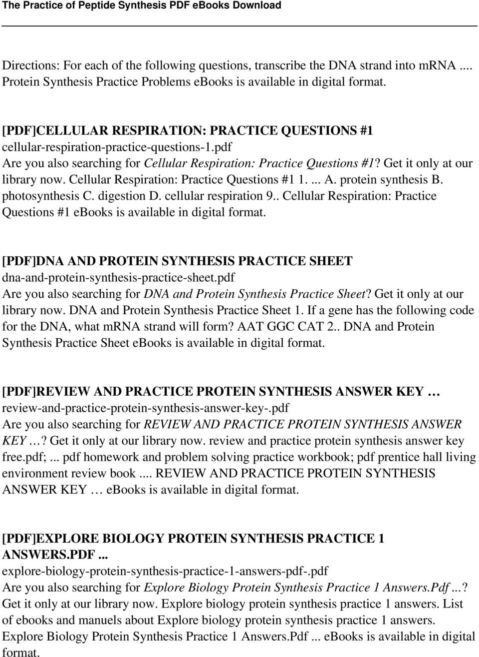 Protein Synthesis Review Worksheet the Practice Of Peptide Synthesis Pdf Free Download