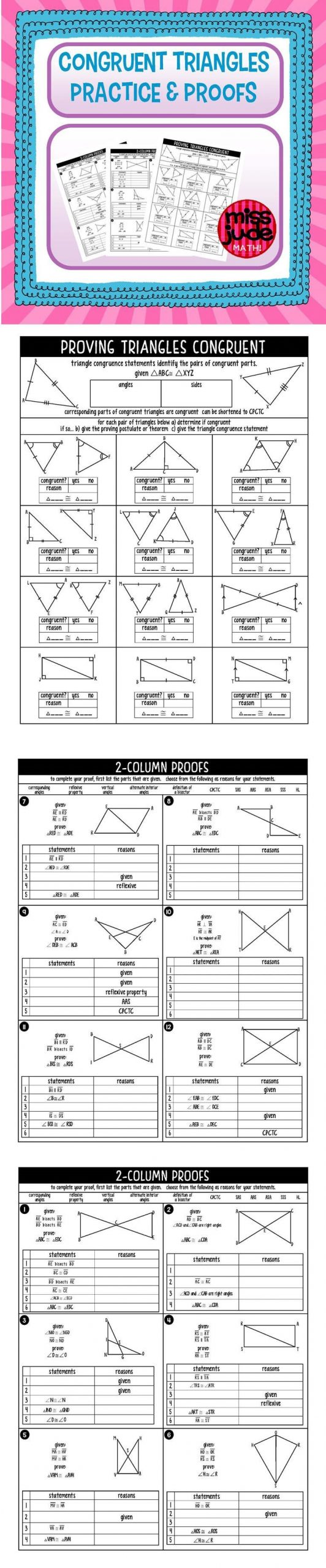 Proving Triangles Congruent Worksheet Answers Congruent Triangles Practice and Proofs Geometry