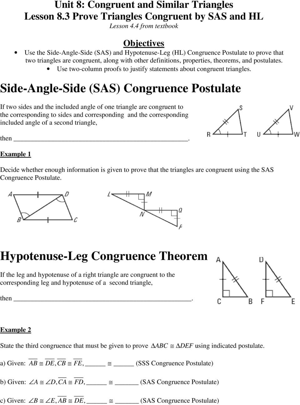 Proving Triangles Congruent Worksheet Answers Unit 8 Congruent and Similar Triangles Lesson 8 1 Apply