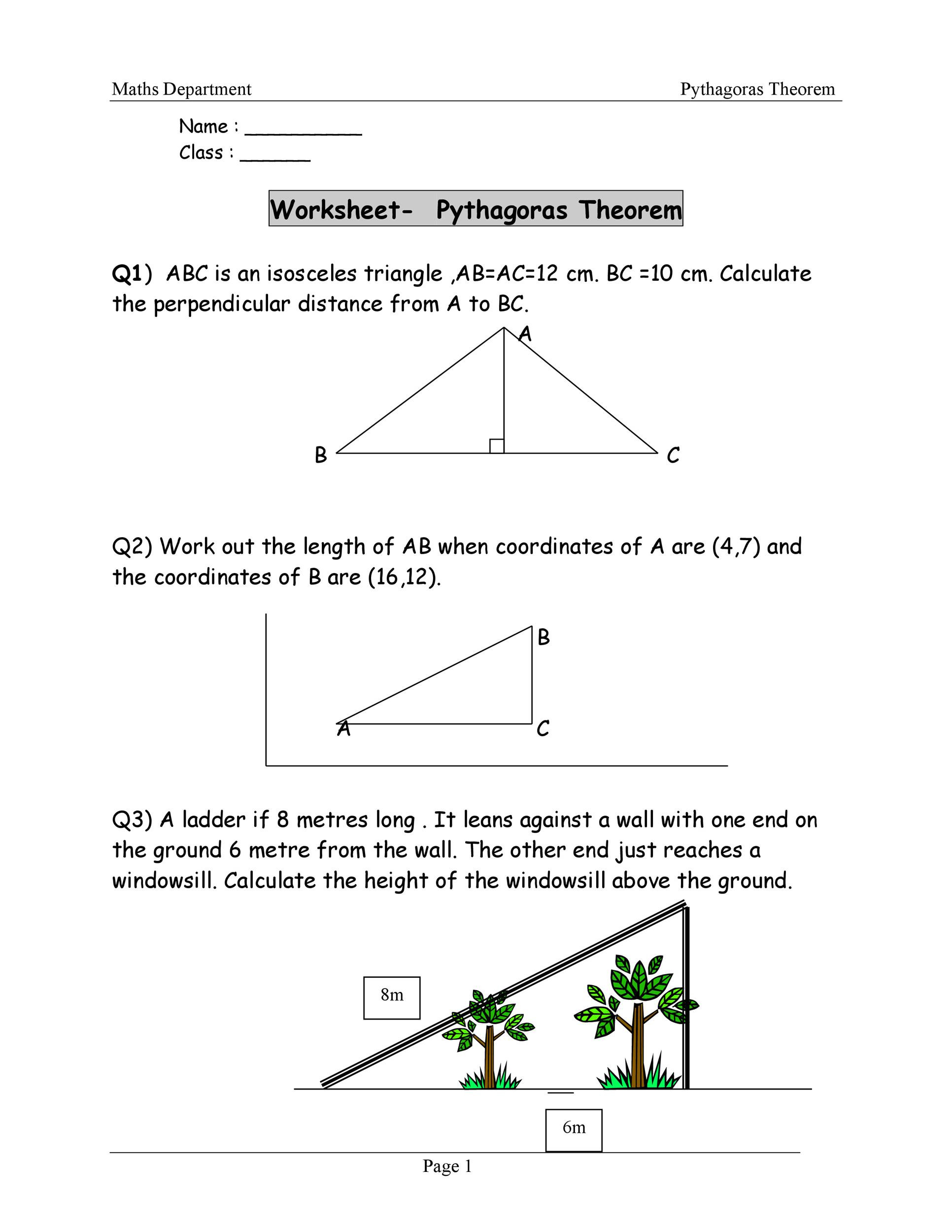 Pythagoras theorem Worksheet with Answers 48 Pythagorean theorem Worksheet with Answers [word Pdf]