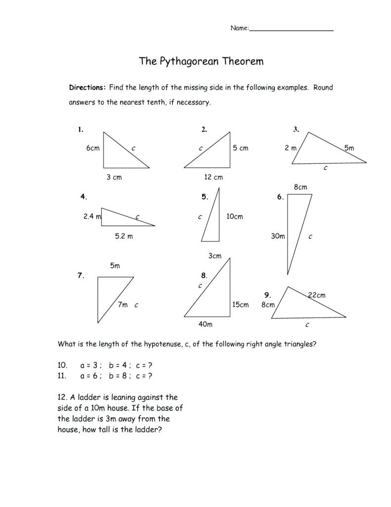 Pythagoras theorem Worksheet with Answers Geometry Pythagorean theorem Worksheet Answers