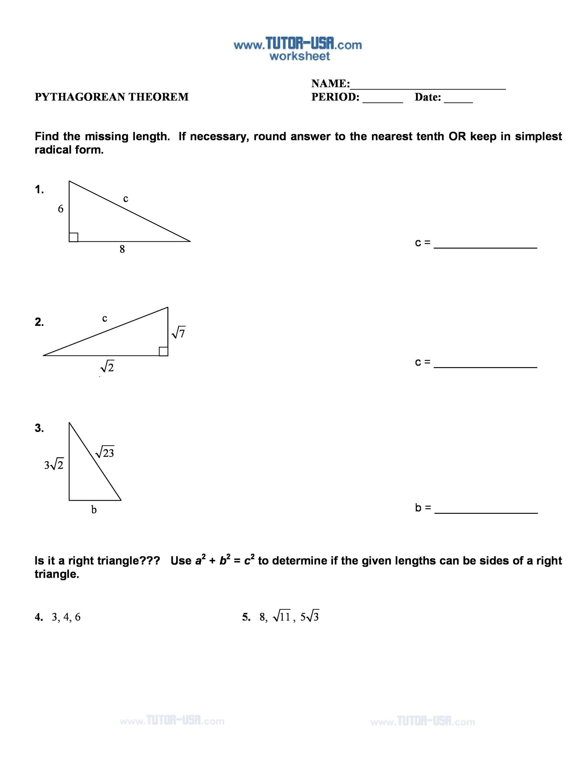 Pythagoras theorem Worksheet with Answers Worksheets Pythagorean theorem formula