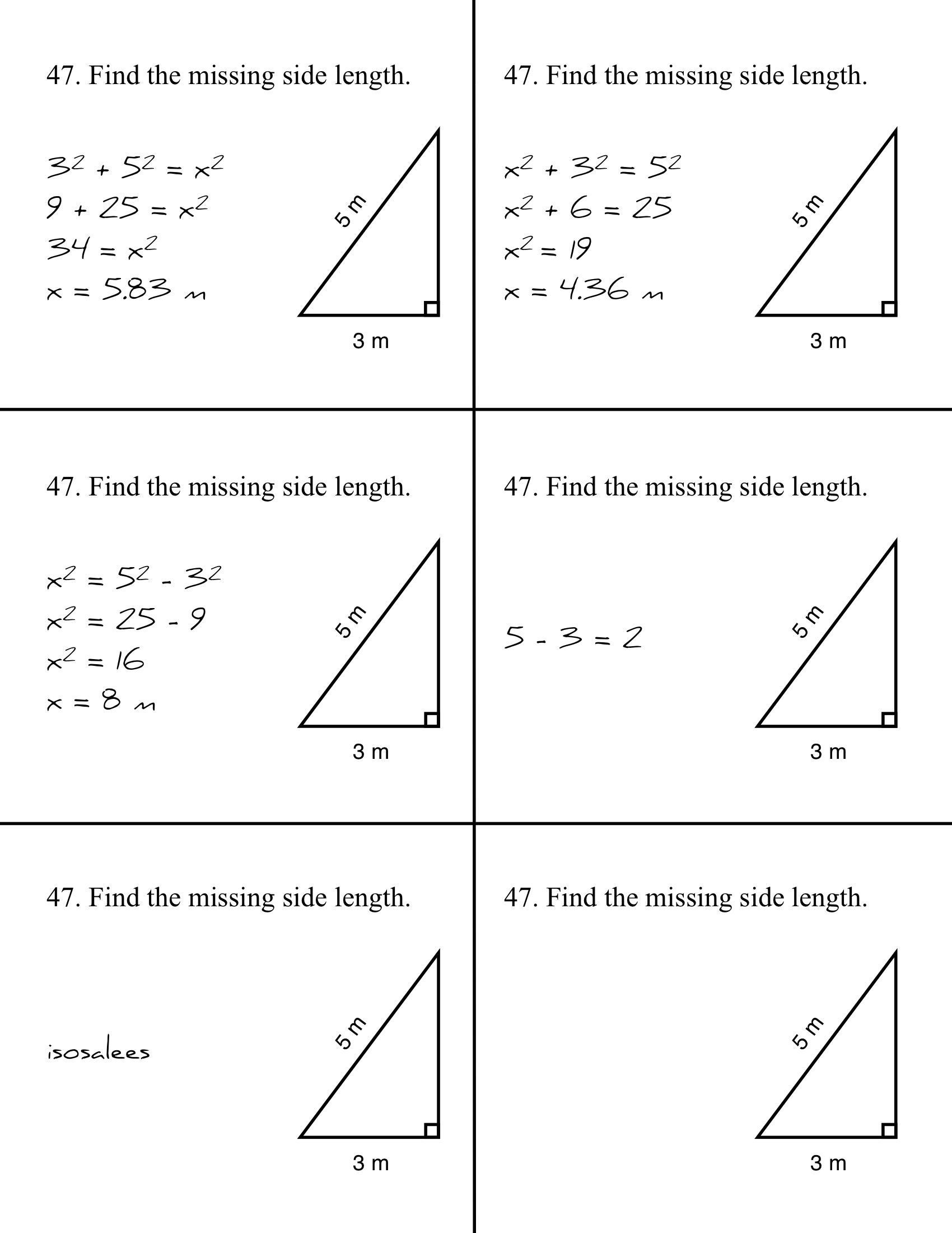 Pythagorean theorem Word Problems Worksheet Pythagorean Mistakes