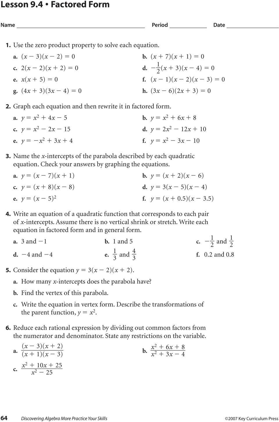 Quadratic Equation Worksheet with Answers 7 solving Quadratic Equations by Factoring Worksheet Answers