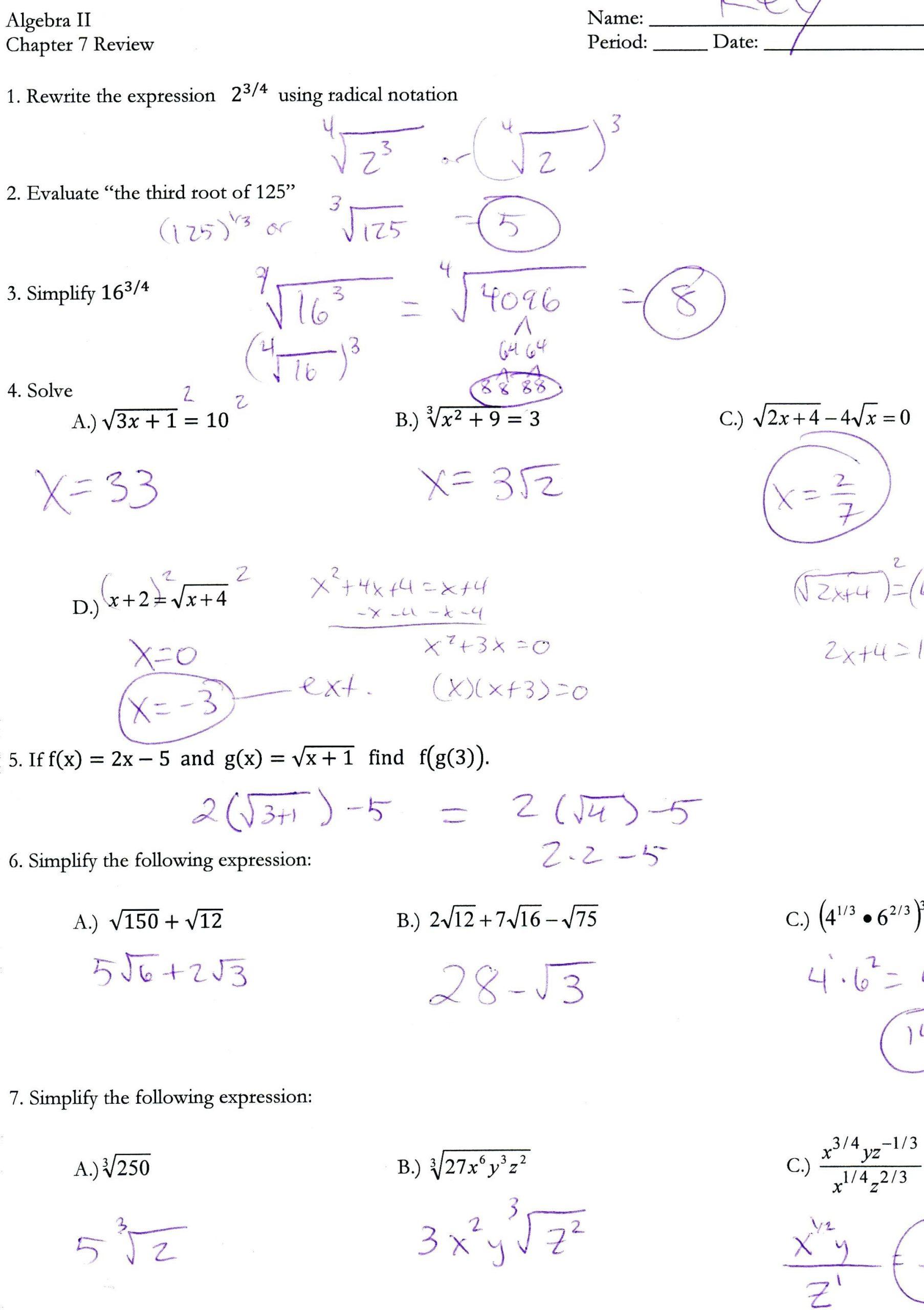 Quadratic Equation Worksheet with Answers Quadratic formula Worksheet Math Aids