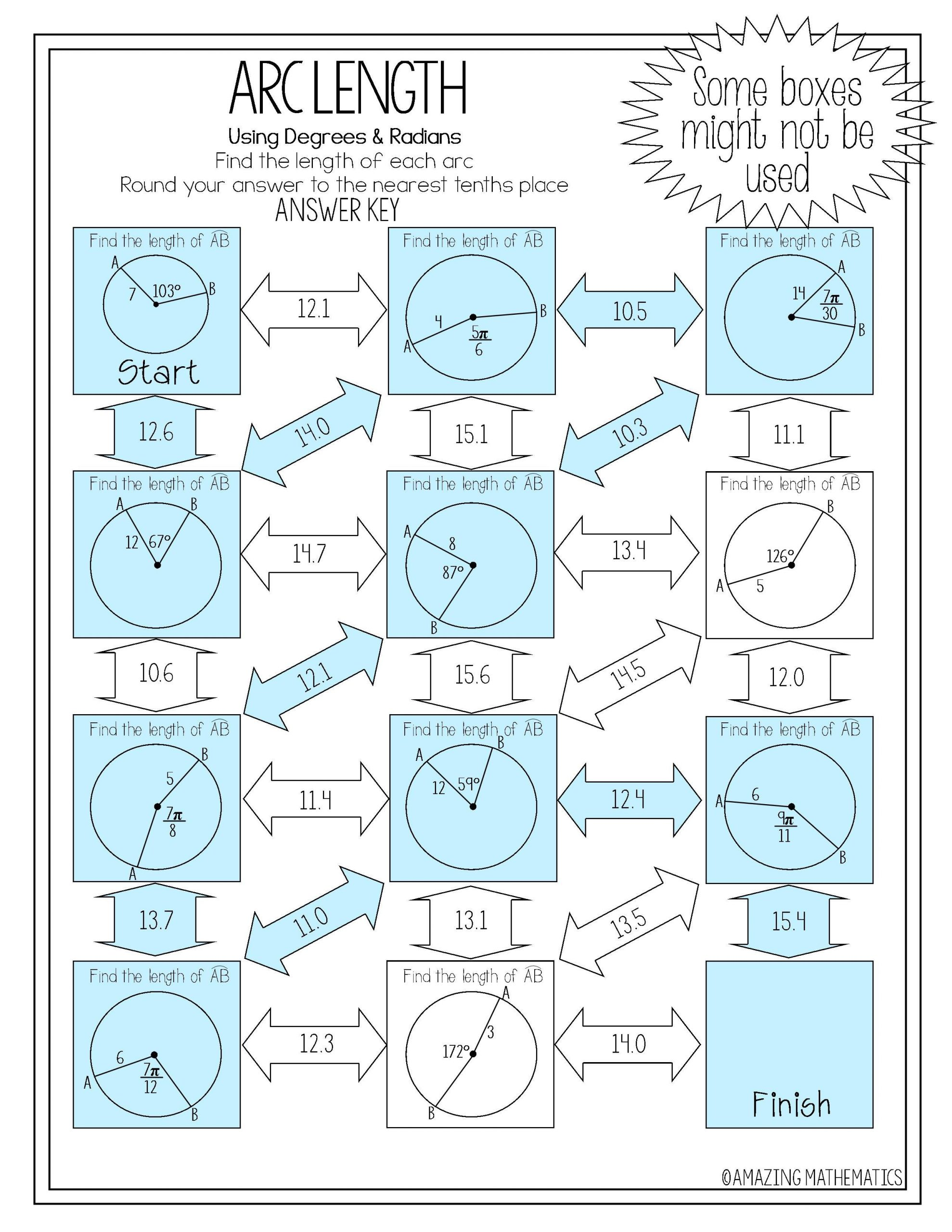 Radians to Degrees Worksheet Arc Length Maze Degrees & Radians with Images
