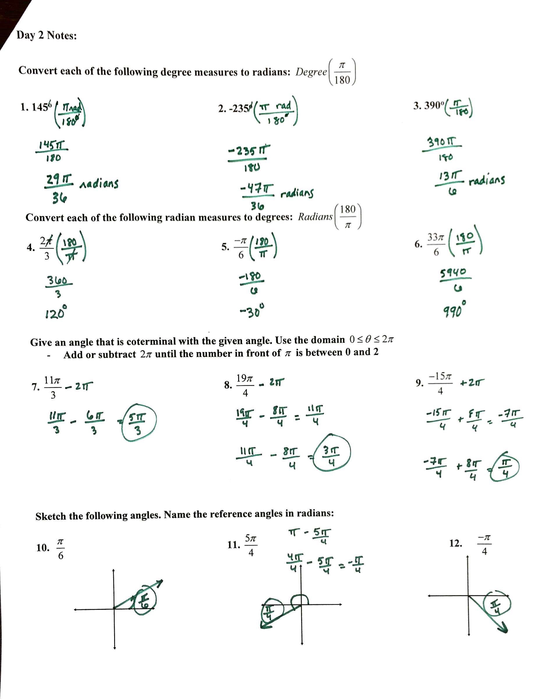 day 2 notes converting and sketching in radians