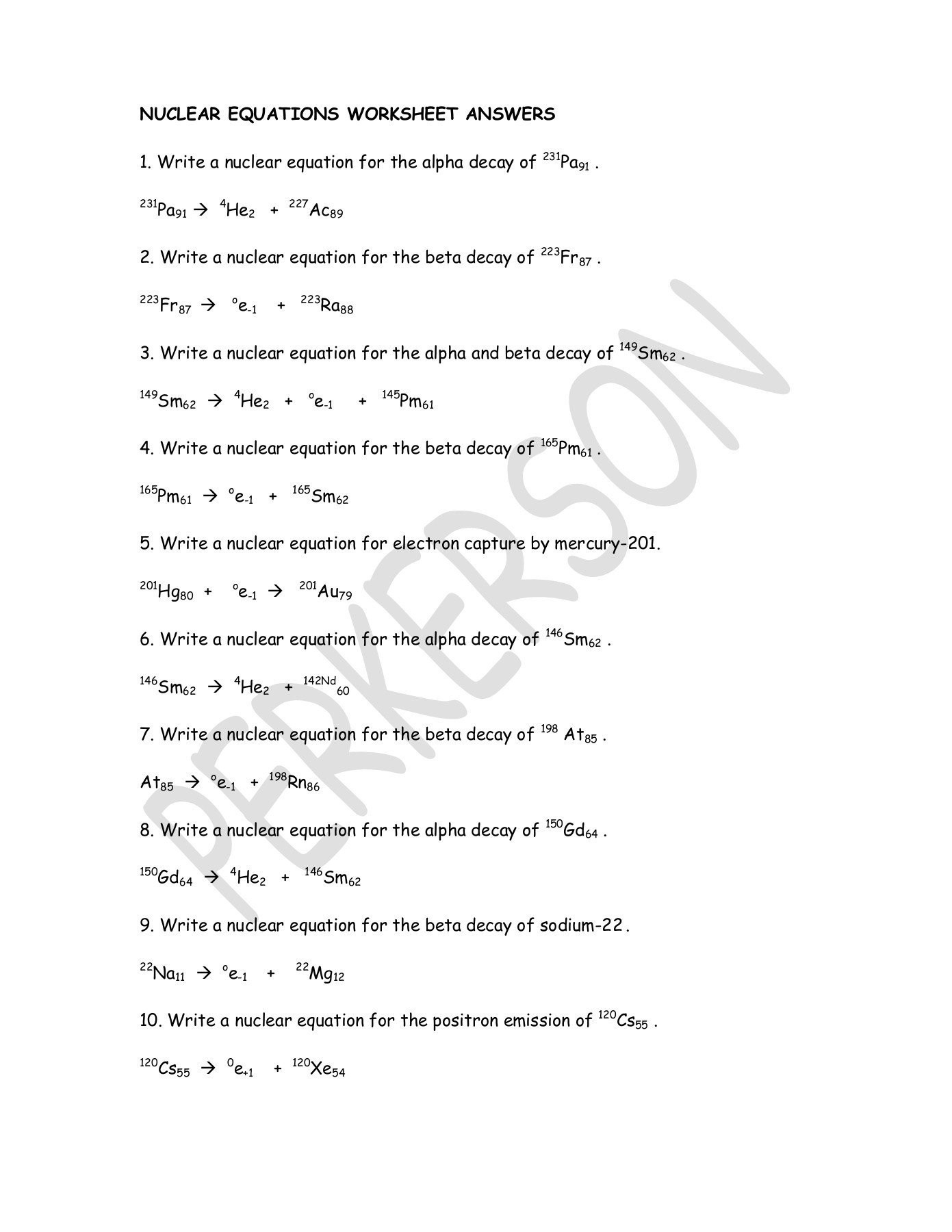 Radioactive Decay Worksheet Answers 20 Nuclear Equations Worksheet Answers