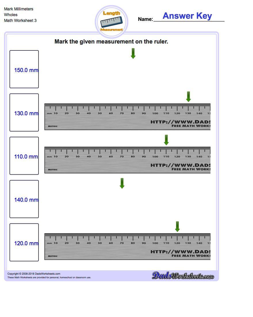 Reading A Metric Ruler Worksheet Mark the Ruler In Metric