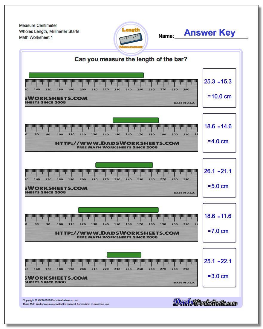 Reading A Metric Ruler Worksheet Metric Measurement