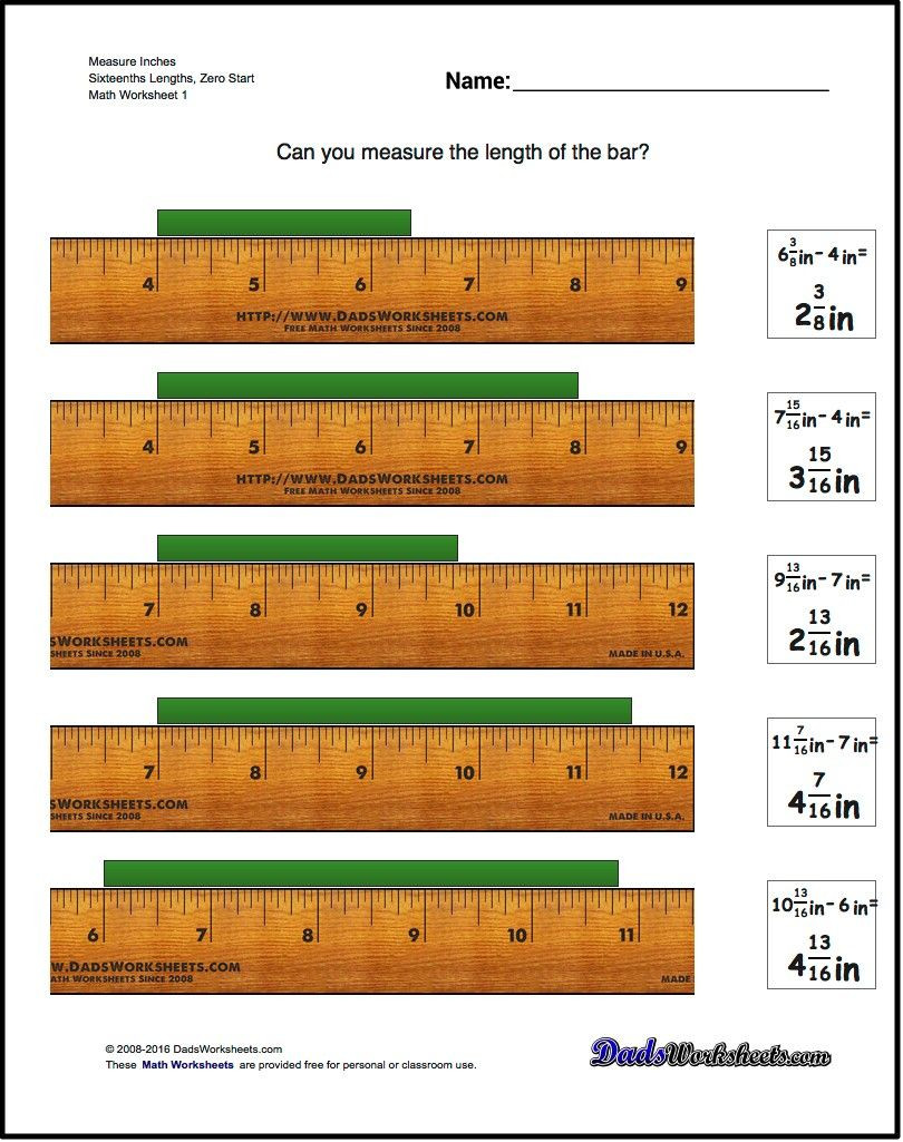 Reading A Ruler Worksheet Pdf Inches Measurement for Measure Inches Sixteenths Lengths
