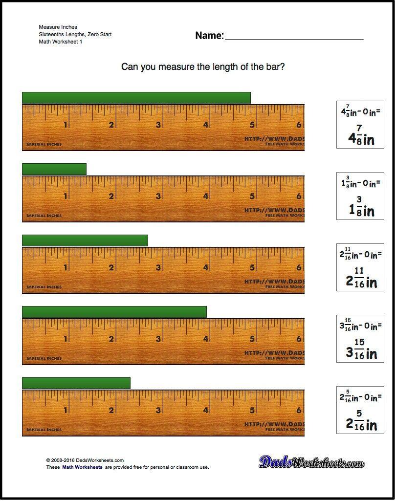 Reading A Ruler Worksheet Pdf Inches Measurement Worksheet Measure Sixteenths Lengths