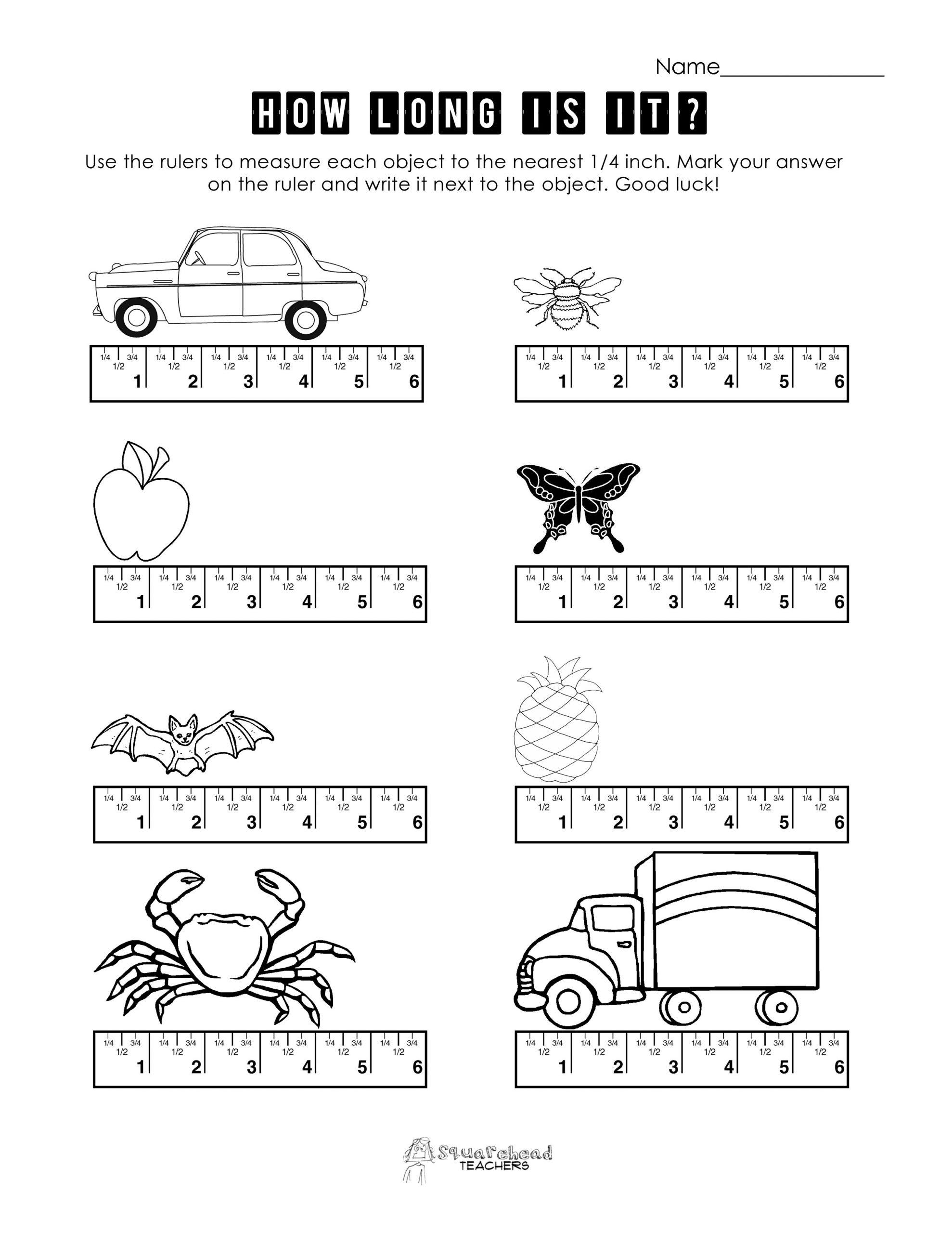 Reading A Ruler Worksheet Pdf Measurement Practice 1