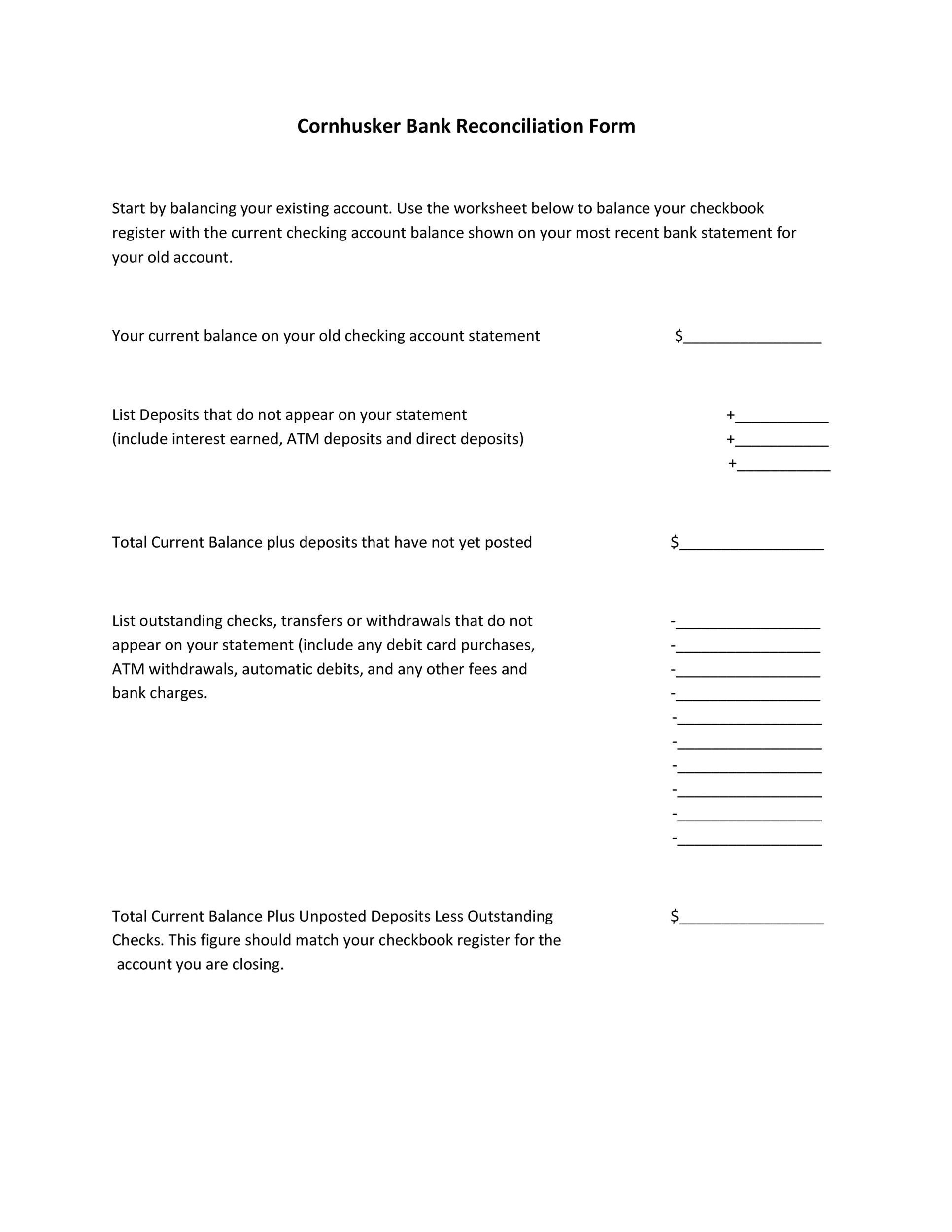 Reconciling A Bank Statement Worksheet 50 Bank Reconciliation Examples & Templates [ Free]