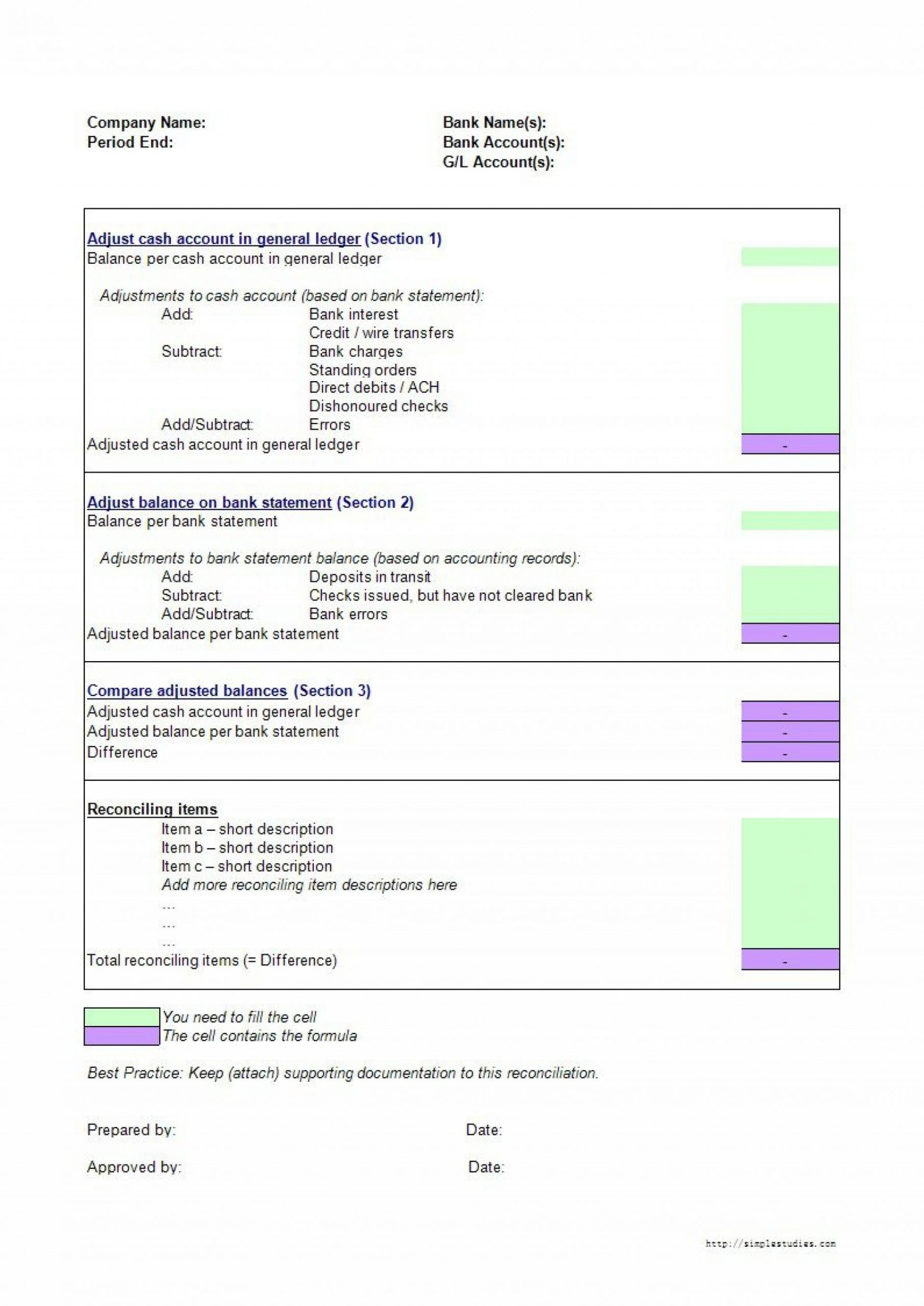 Reconciling A Bank Statement Worksheet Bank Reconciliation Excel Template Addictionary