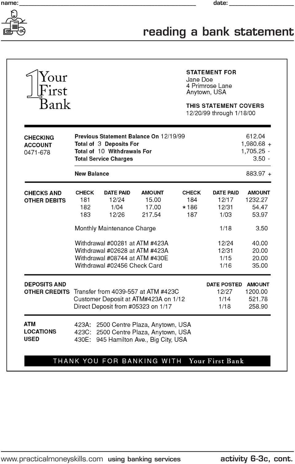 Reconciling A Bank Statement Worksheet Keeping A Running Balance Pdf Free Download