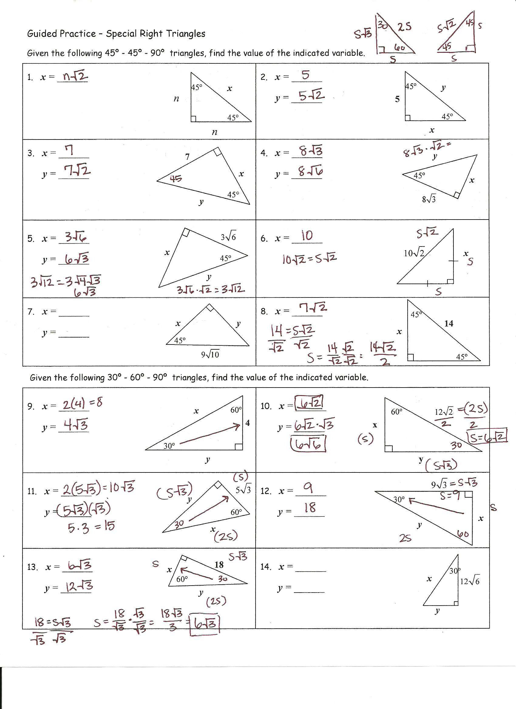 Right Triangle Trig Worksheet Basic Trigonometry Worksheets