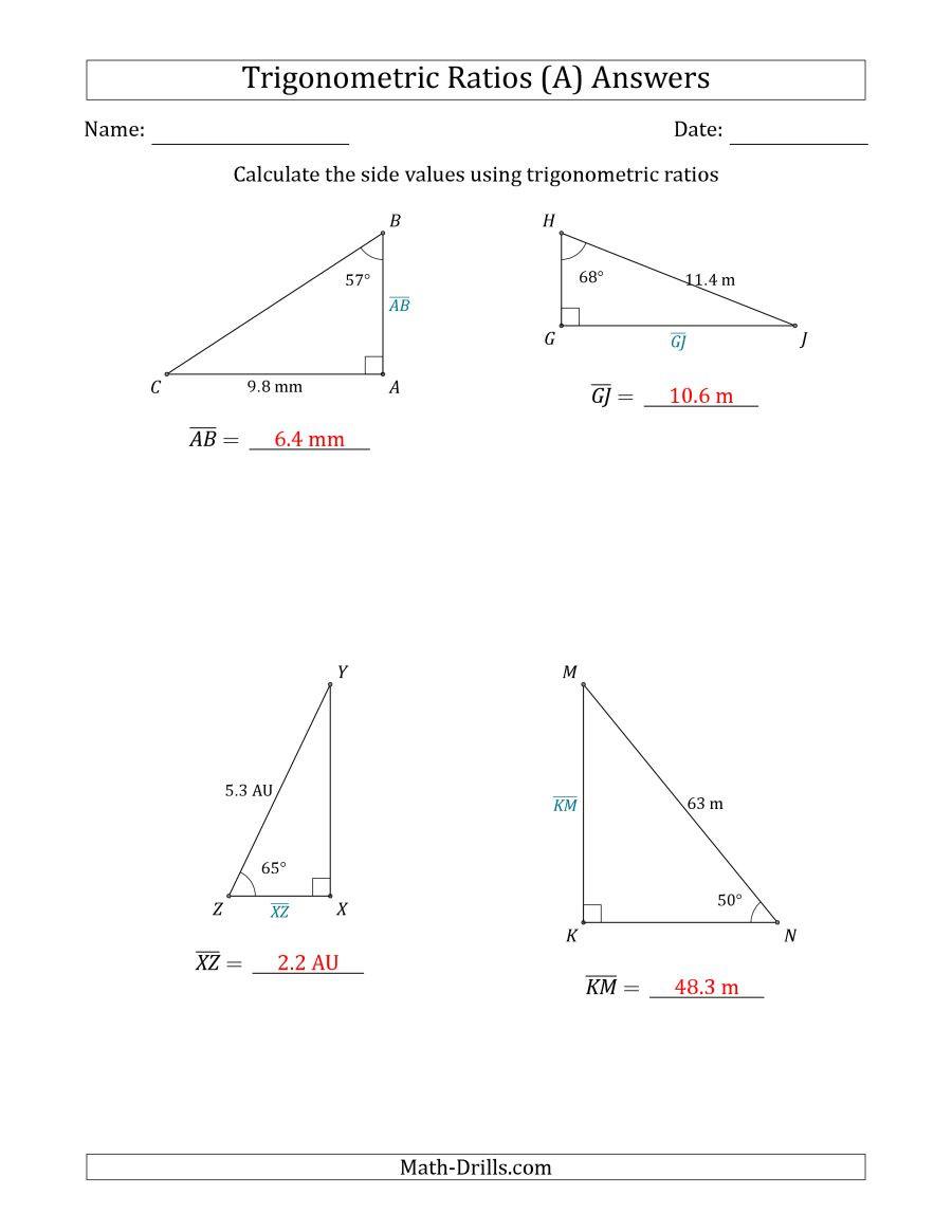Right Triangle Trig Worksheet Trigonometry Ratios Worksheet – Colabug