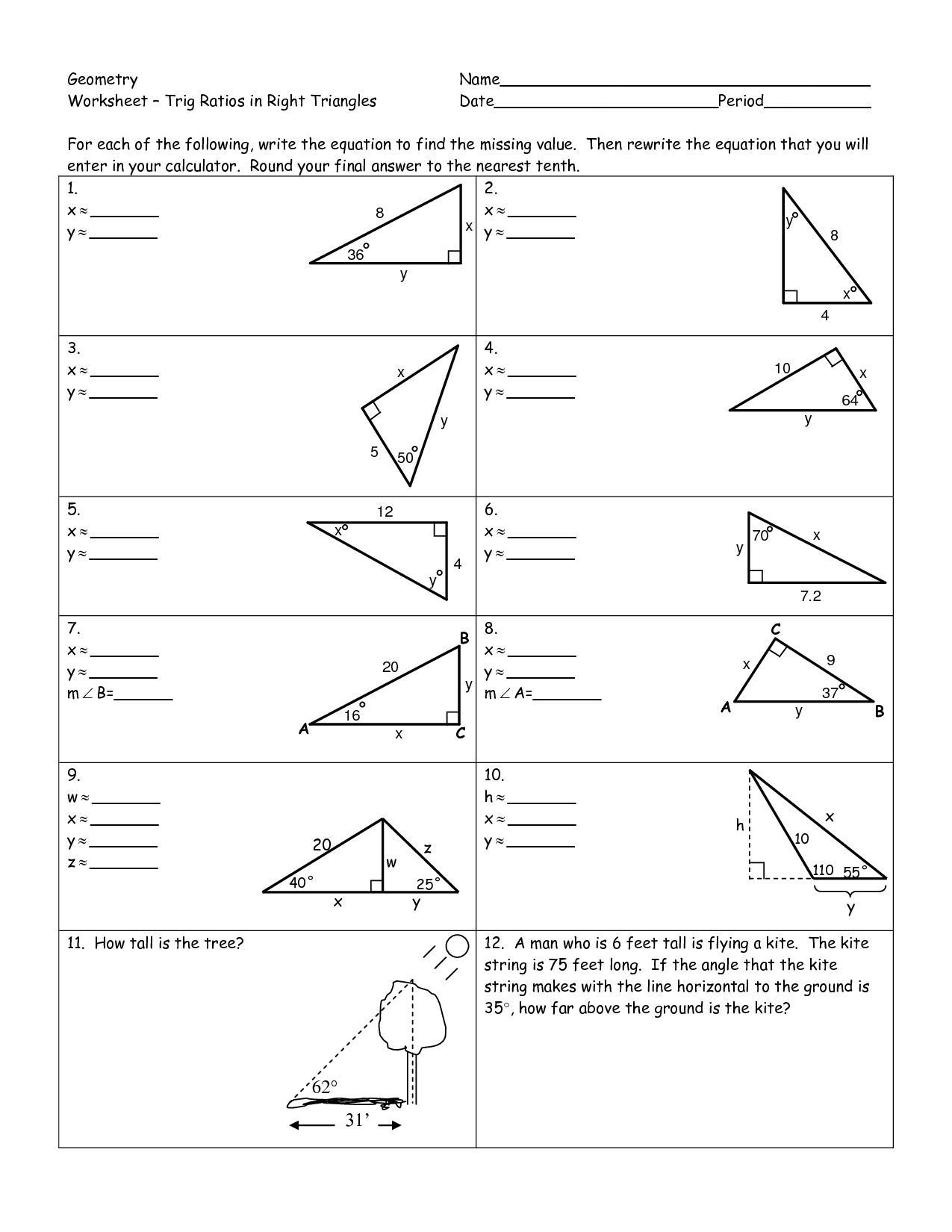 Right Triangle Trig Worksheet Trigonometry Worksheets Pdf A Trigonometry Worksheets Pdf