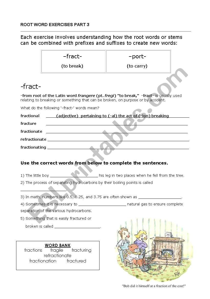 Root Words Worksheet Pdf English Worksheets Root Words Fract Port