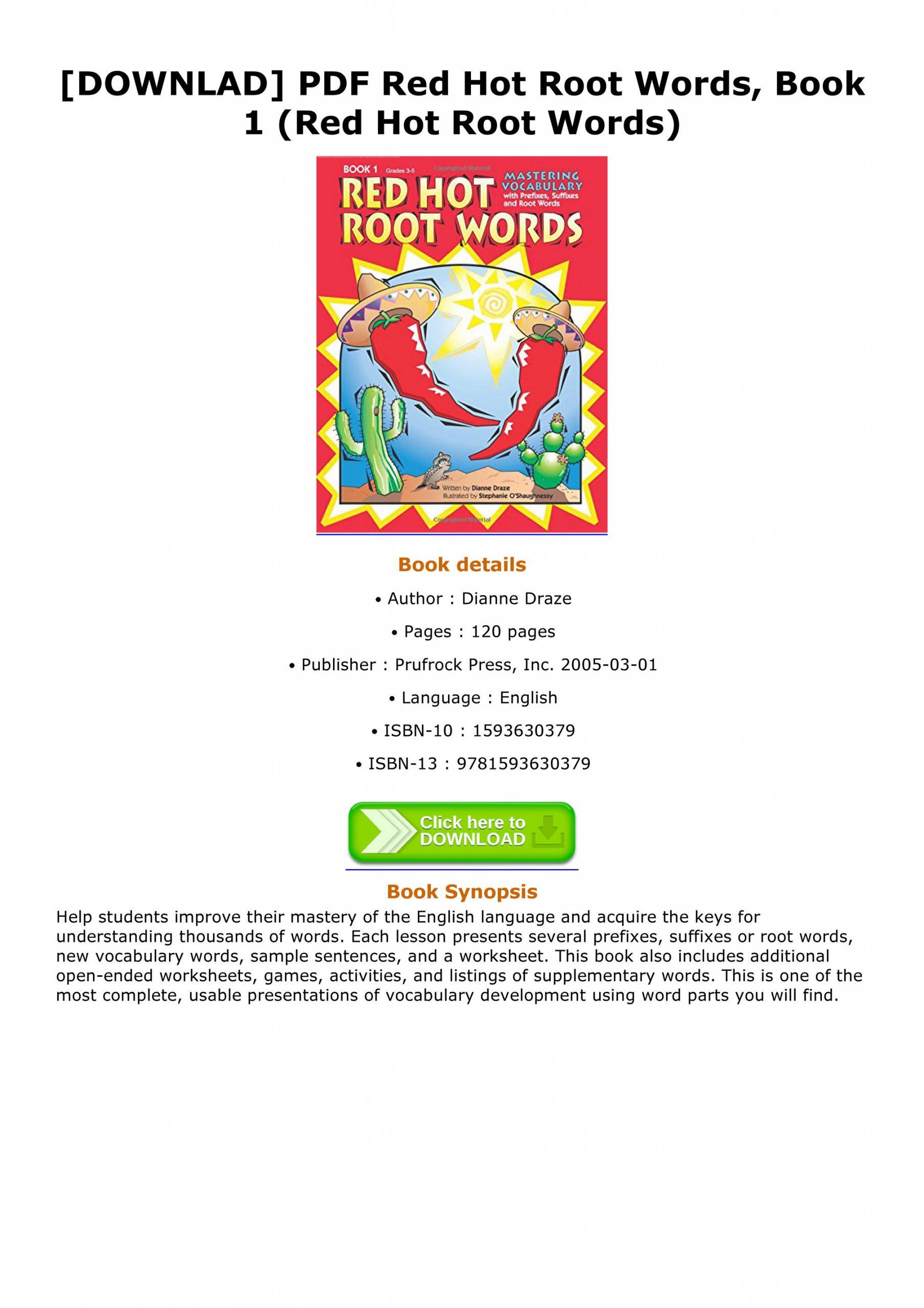 Root Words Worksheet Pdf Horacio Downlad Pdf Red Hot Root Words Book 1 Red Hot Root