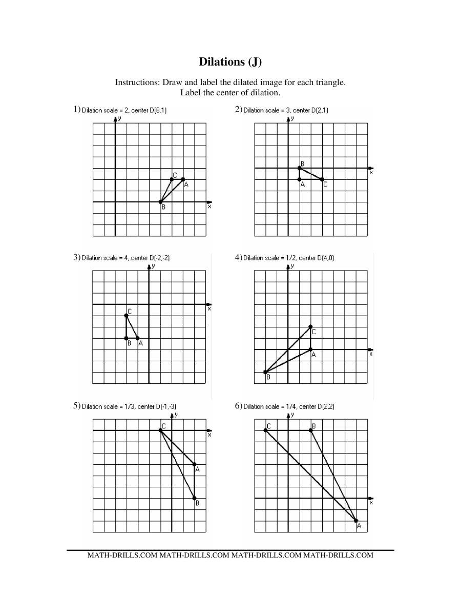 Scale Factor Worksheet 7th Grade Dilations Math Worksheet