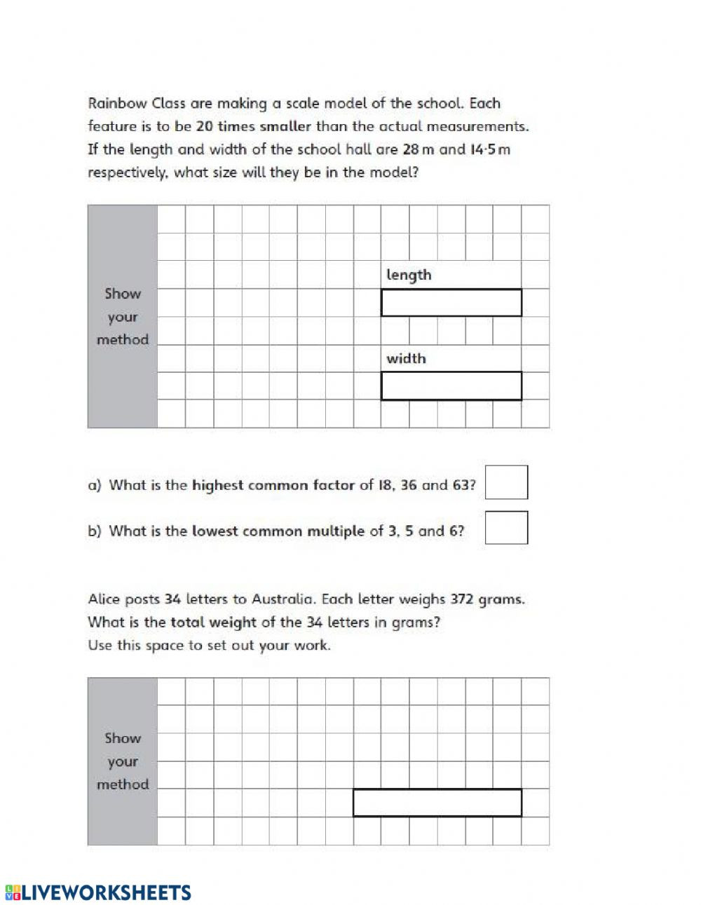 Scale Factor Worksheet 7th Grade Math Revision Part Interactive Worksheet Worksheets
