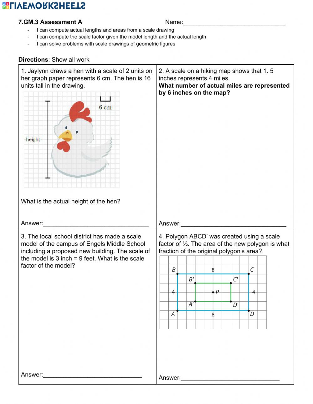 Scale Factor Worksheet 7th Grade Scale Drawing Test Gm 3 Interactive Worksheet