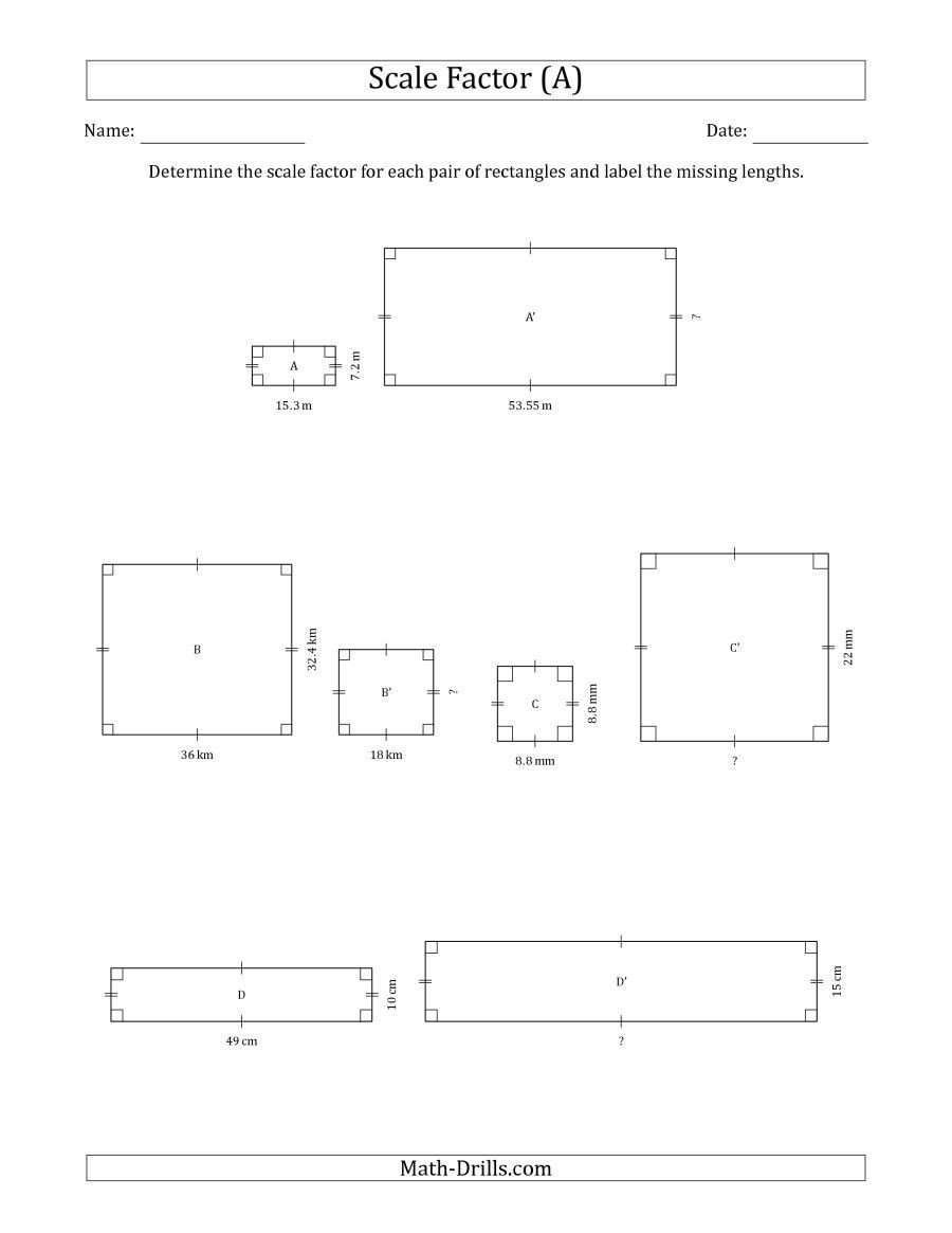 Scale Factor Worksheet 7th Grade the Determine the Scale Factor Between Two Rectangles and