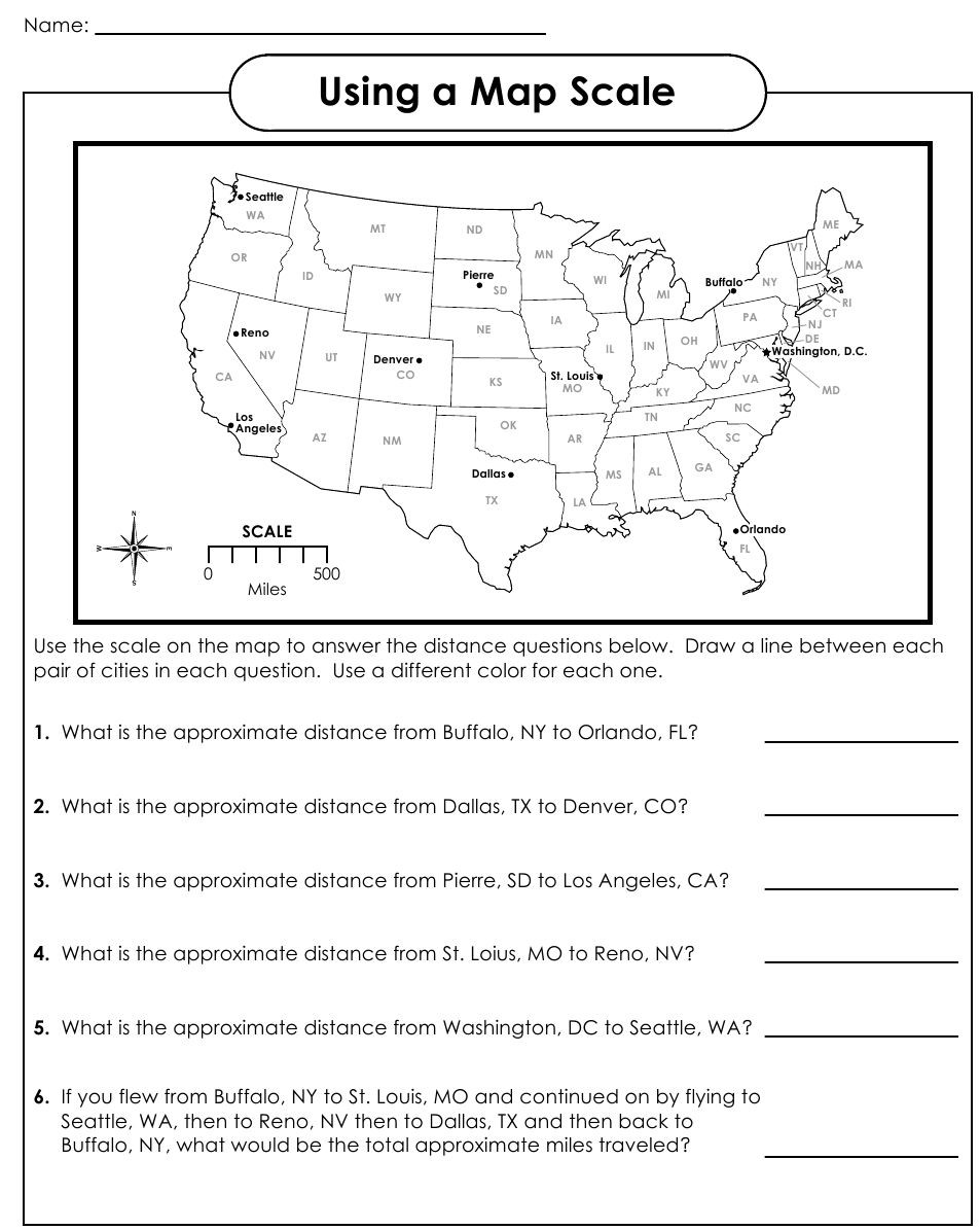 Scale Factor Worksheet 7th Grade Using A Map Scale