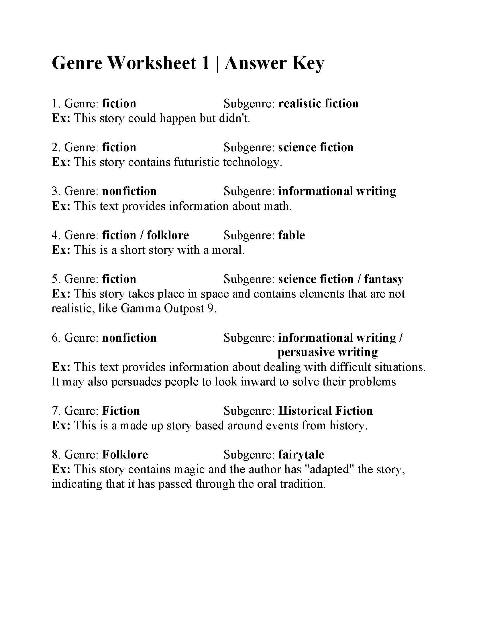 Science World Worksheet Answers Genre Worksheet 1