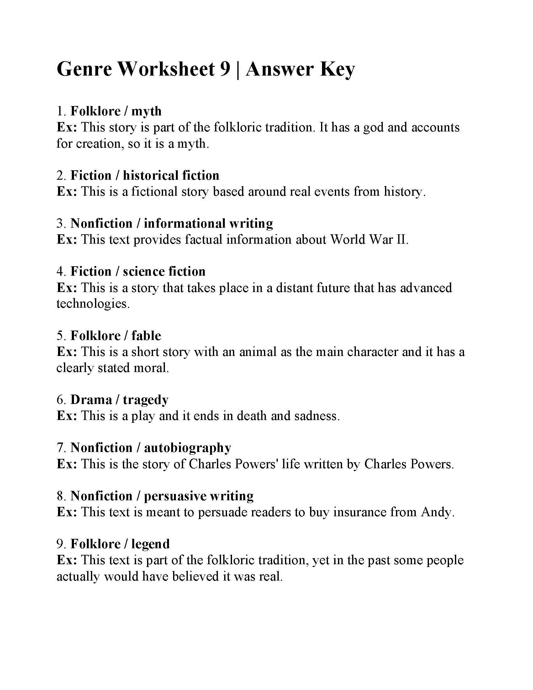 Science World Worksheet Answers Genre Worksheet 9