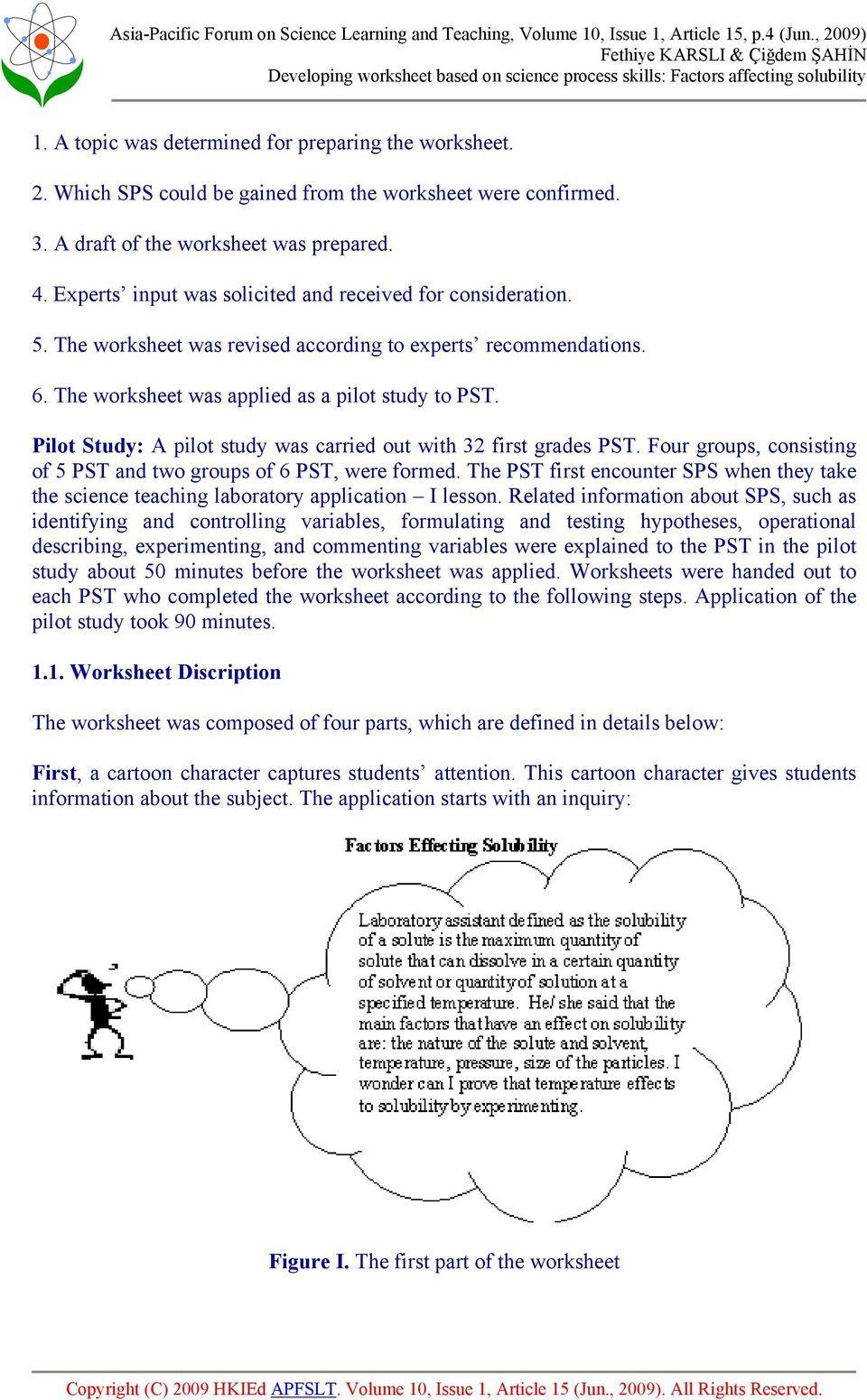 Scientific Method Worksheet 4th Grade Developing Worksheet Based Science Process Skills Factors
