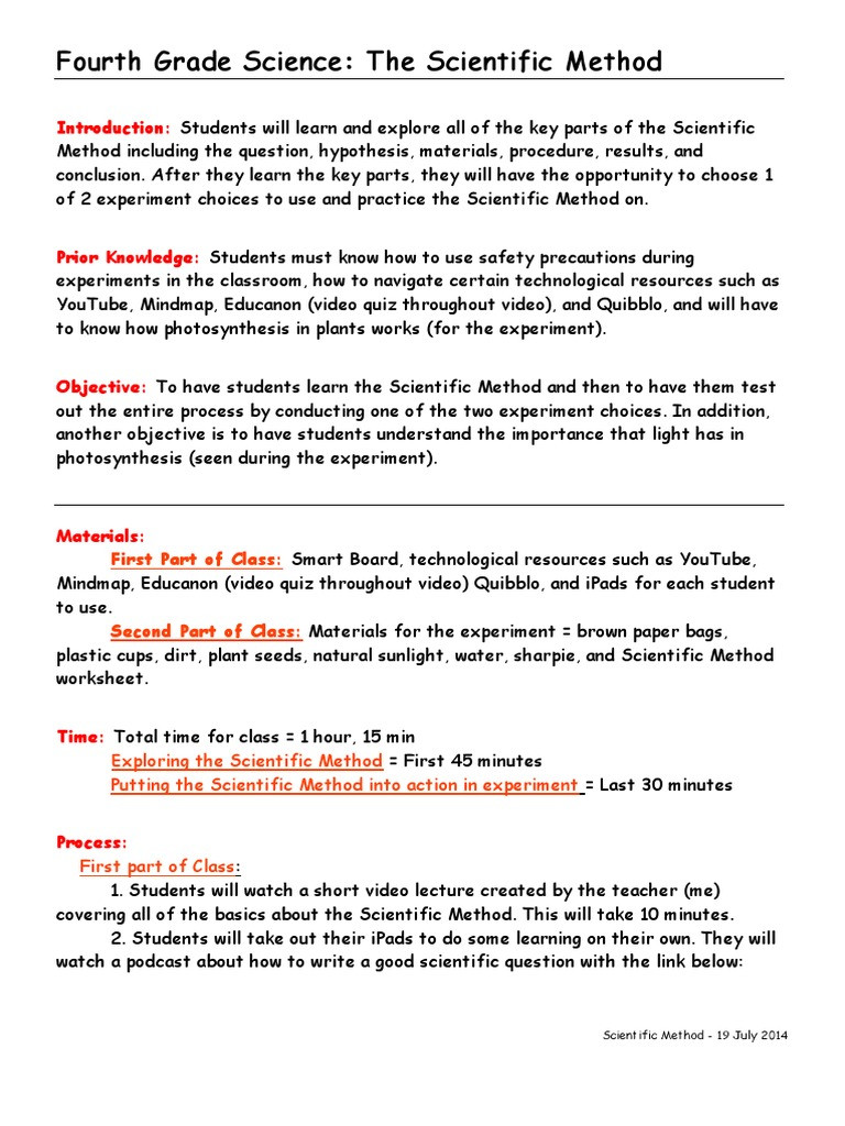 Scientific Method Worksheet 4th Grade Haley Placke 4th Grade Science Lesson Plan