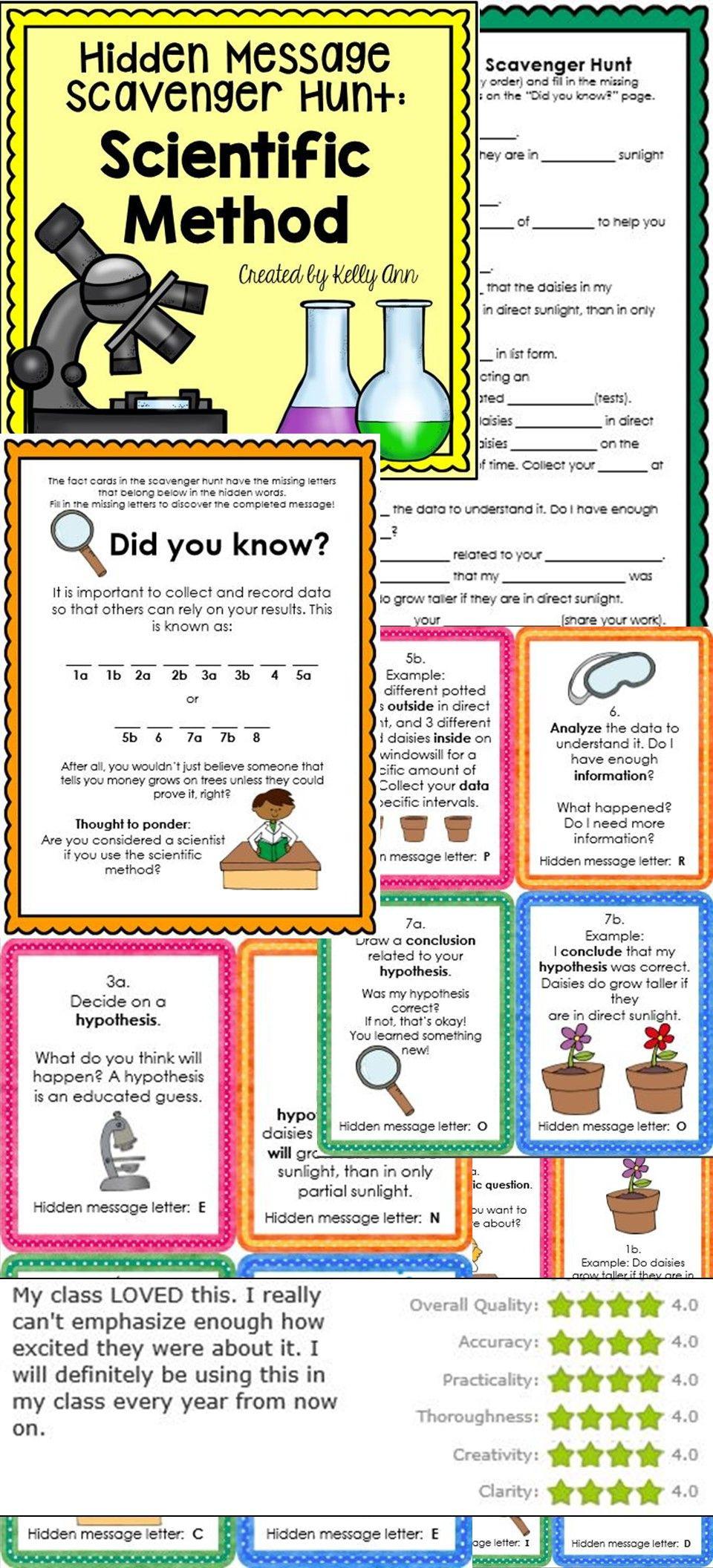 Scientific Method Worksheet 4th Grade Scientific Method Activity Scavenger Hunt