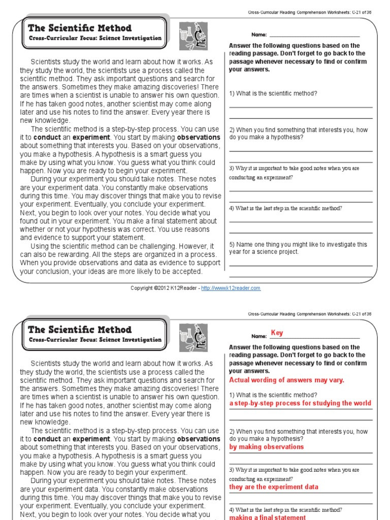 Scientific Method Worksheet Answer Key Gr3 Wk21 Scientific Method Pdf Experiment