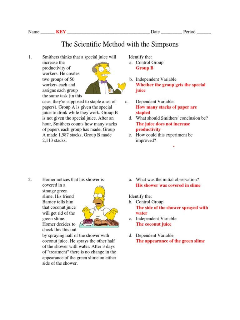 Scientific Method Worksheet Answers Simpsons Scientific Method Key Mouse