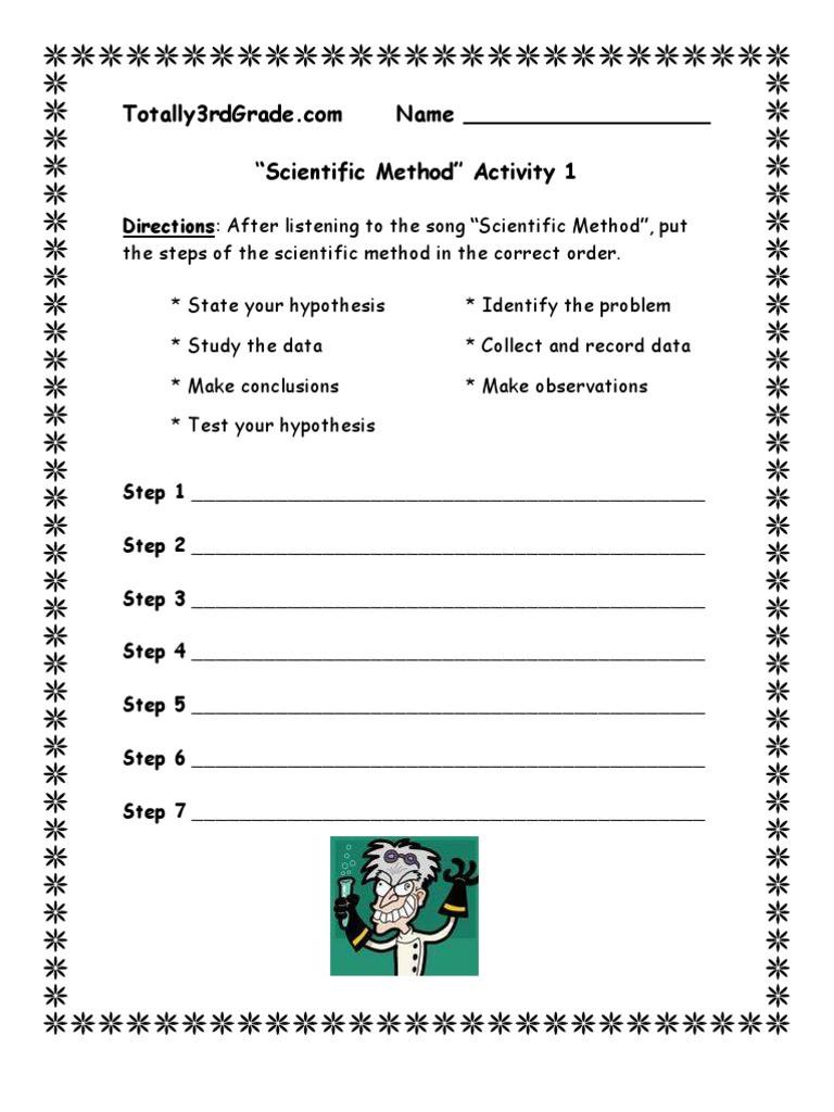 Scientific Method Worksheet Pdf 3rd Grade Scientific Method Worksheet