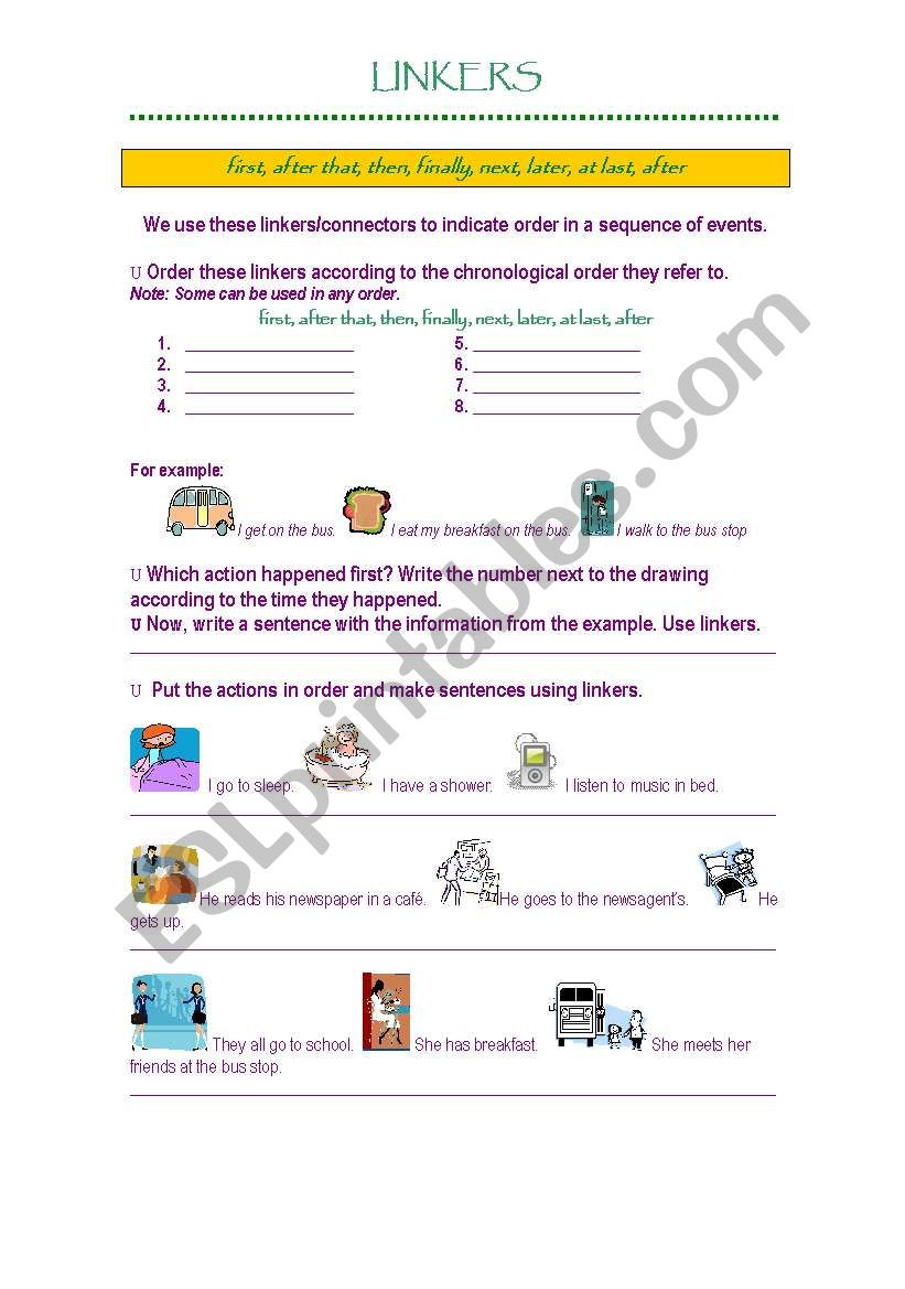 Sequence Of events Worksheet Linkers Sequence Of events Esl Worksheet by Gisel