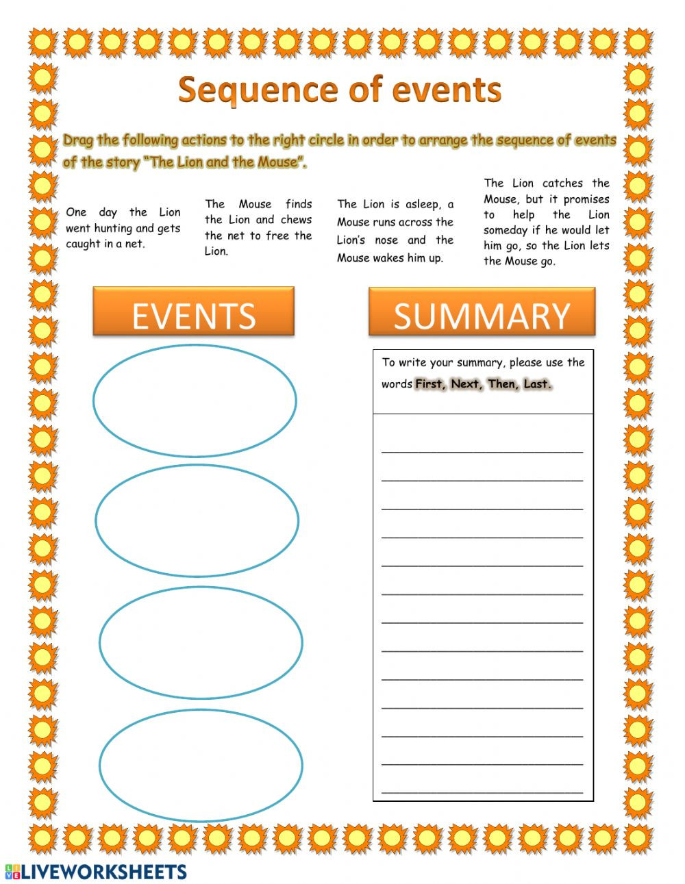 Sequence Of events Worksheet Sequence Of events and Summary Interactive Worksheet