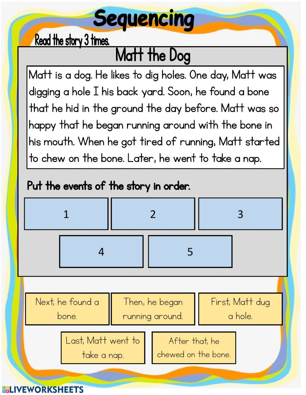 Sequence Of events Worksheet Sequencing Interactive Worksheet