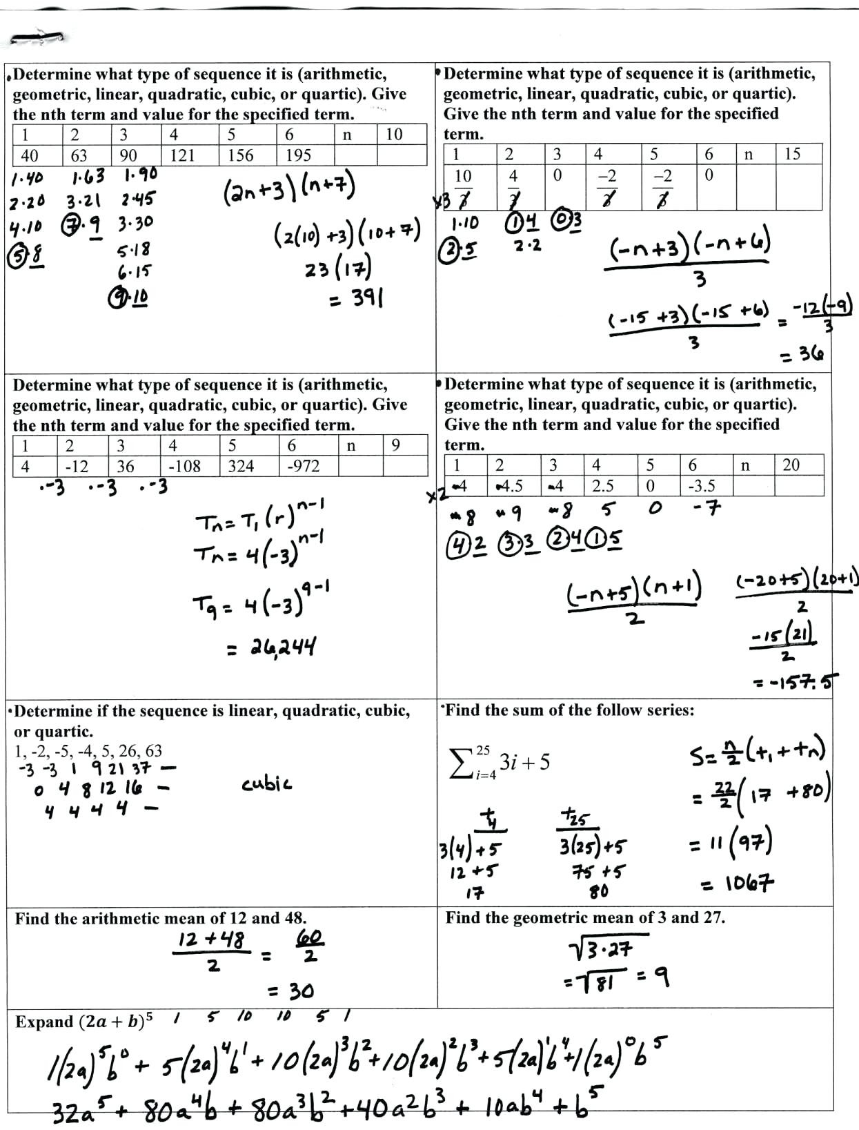 Sequences and Series Worksheet Answers Arithmetic Sequence Series Worksheet Answers Worksheet List