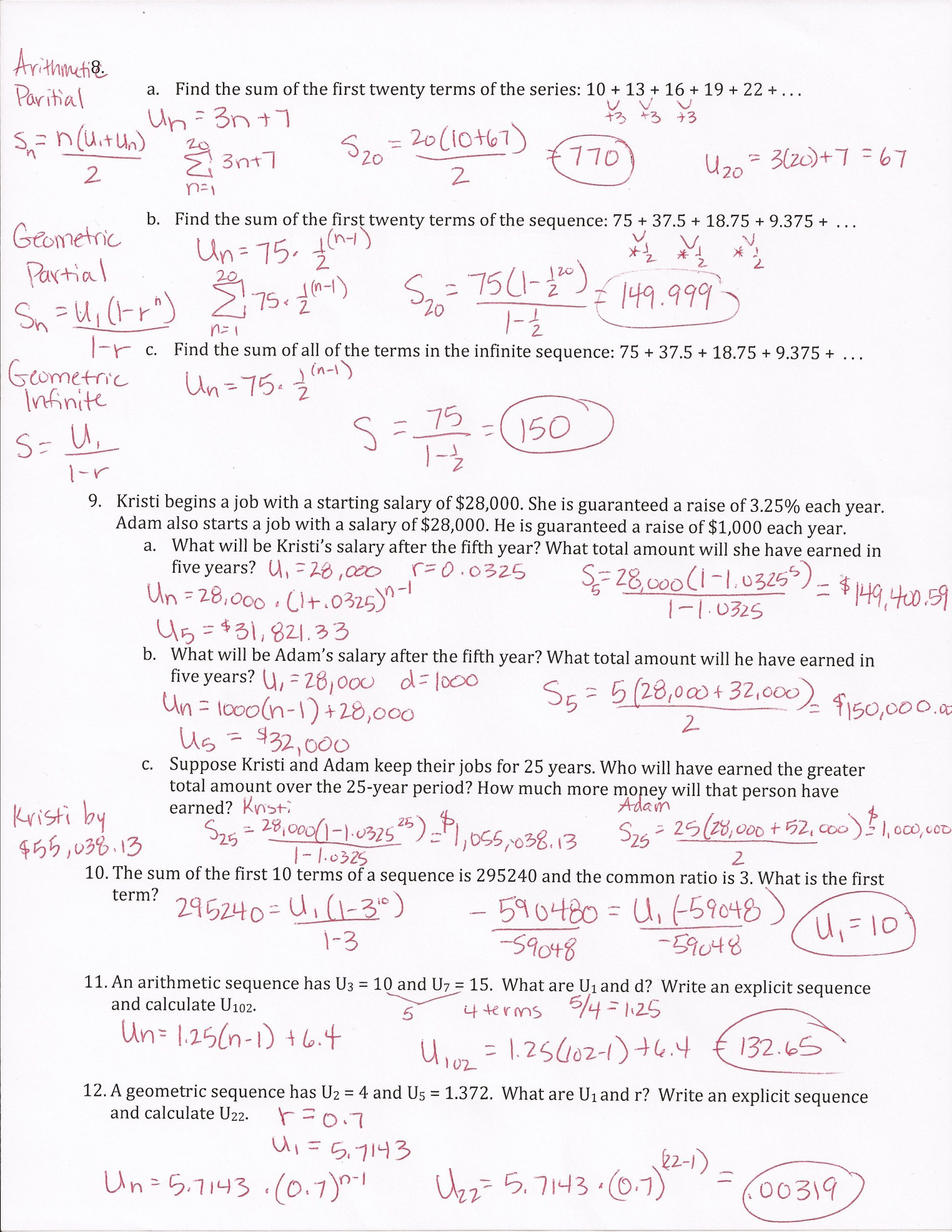 Sequences and Series Worksheet Answers Arithmetic Series Worksheet with Answers Pdf