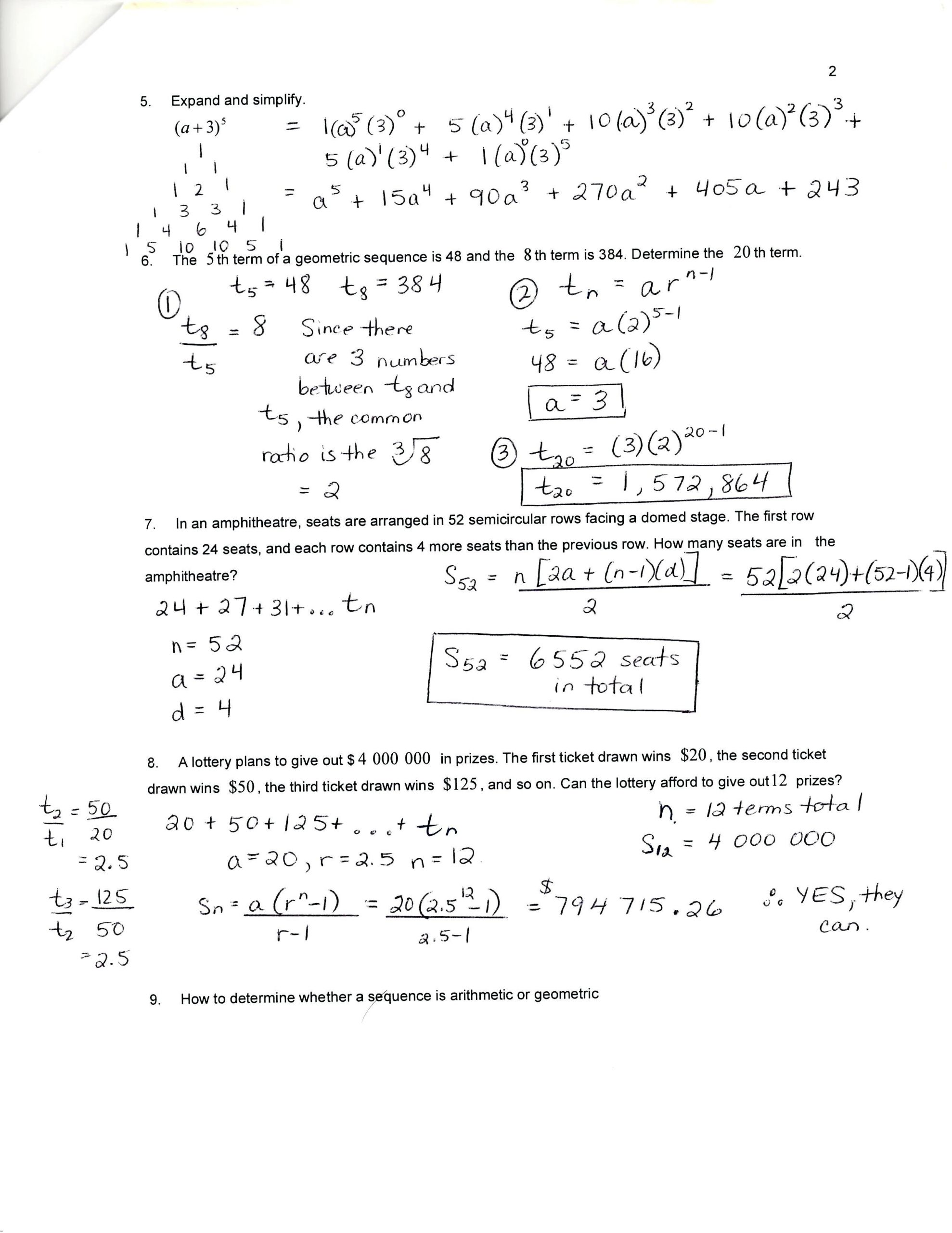 Sequences and Series Worksheet Answers Geometric Arithmetic Systems Worksheets