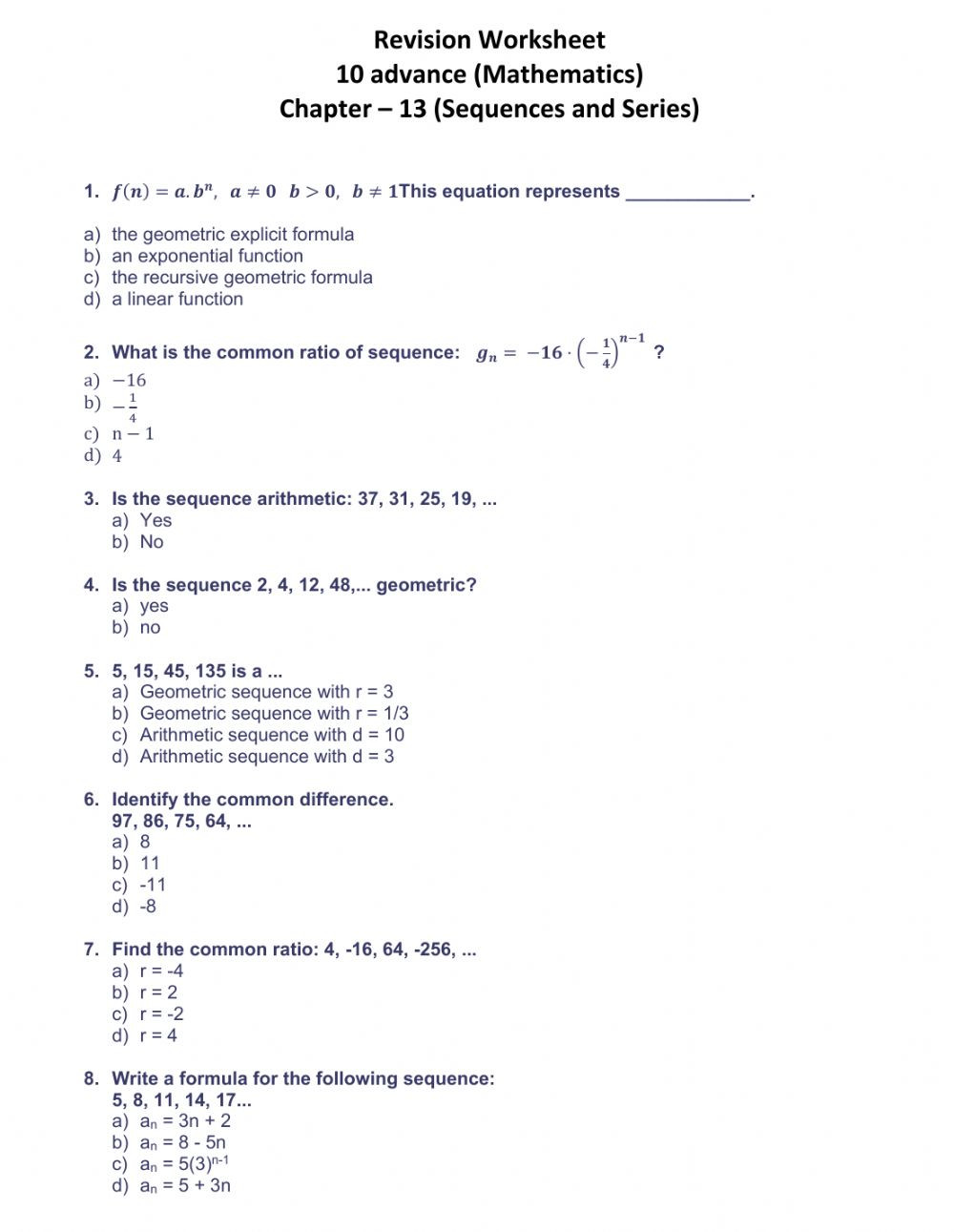 Sequences and Series Worksheet Answers Sequences and Series Ch 13 10a Interactive Worksheet