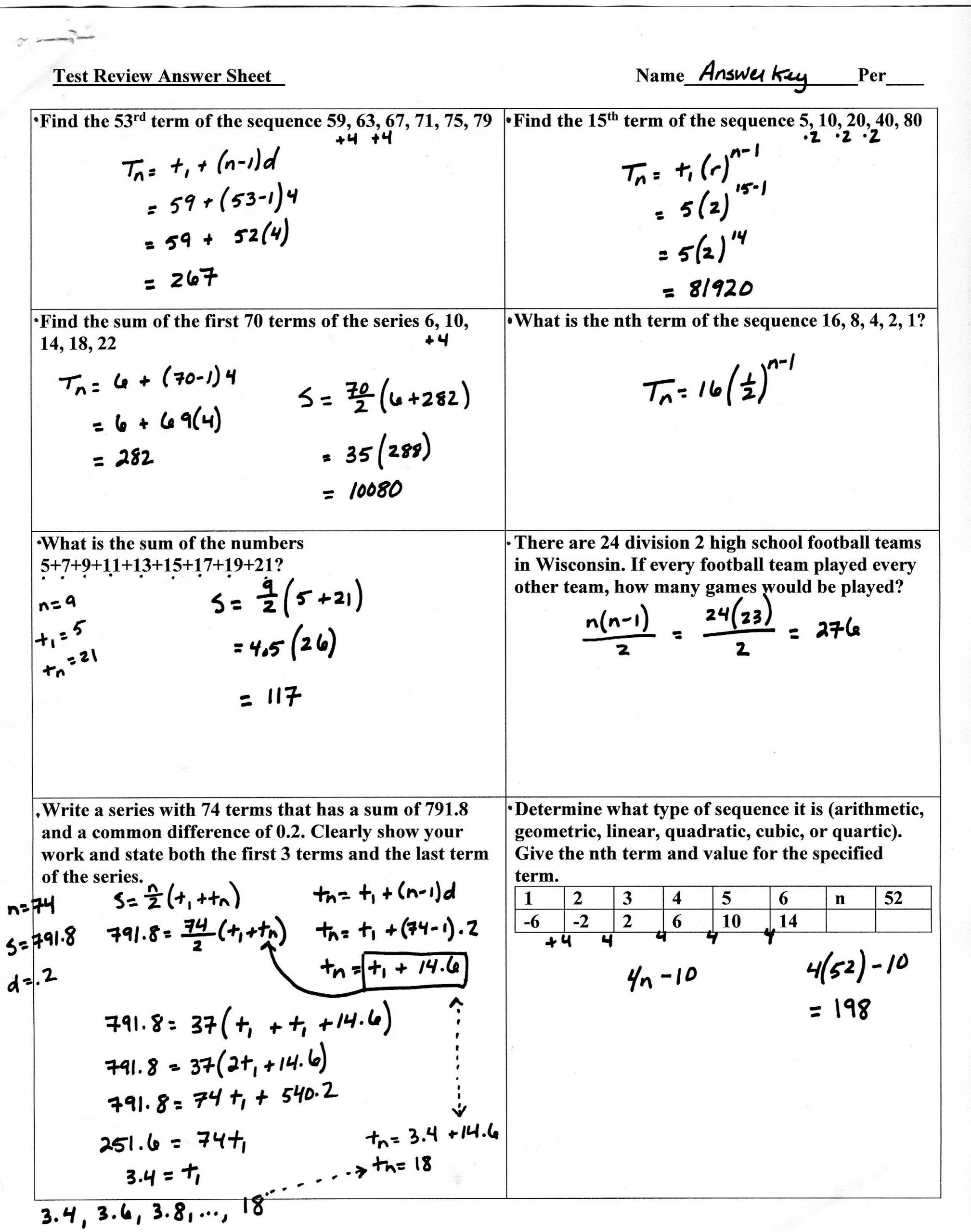 Sequences and Series Worksheet Answers Sequences and Series Review Page 1 2514—3191